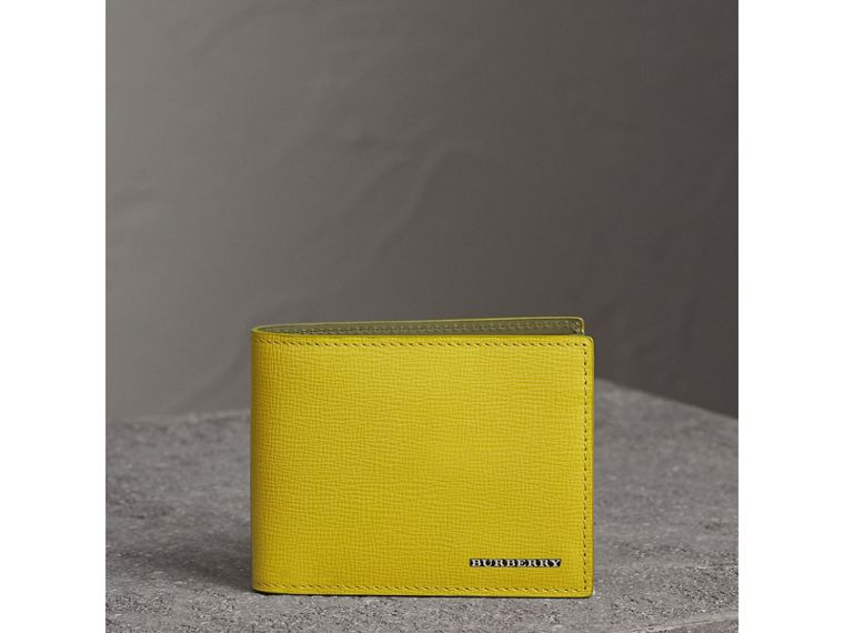 London Leather Slim Folding Wallet in Bright Citrus | Burberry Australia - cell image 1