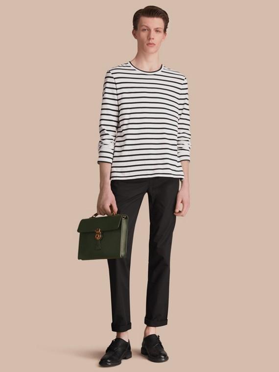 Pantalon chino de coupe droite en coton (Noir)
