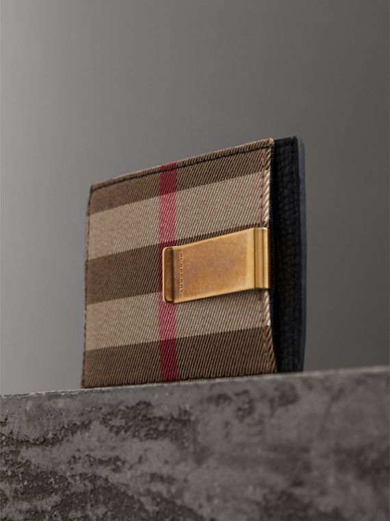 House Check and Leather Money Clip Card Case in Black - Men | Burberry United States - cell image 2