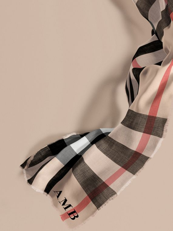 The Lightweight Cashmere Scarf in Check Stone