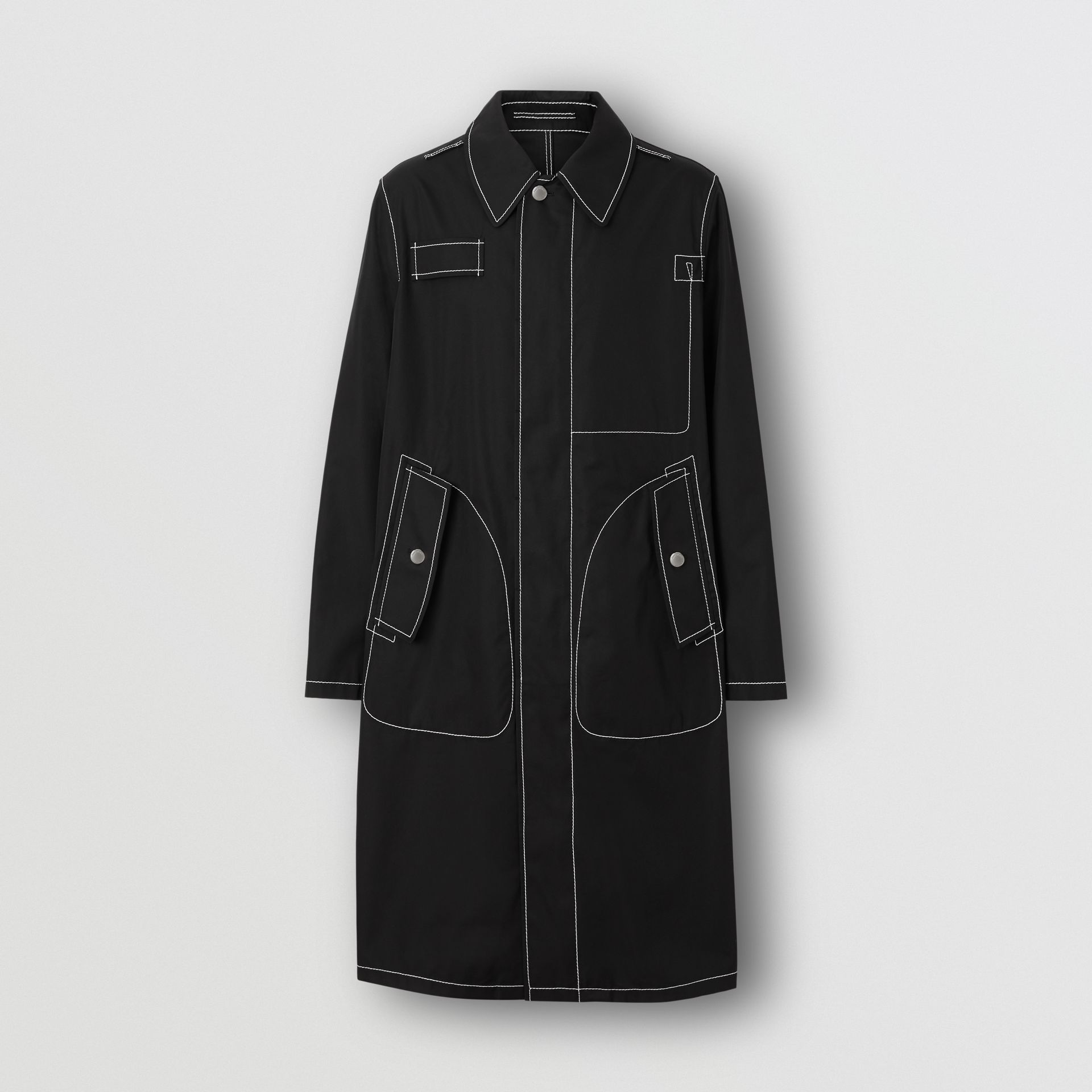 Topstitch Detail Cotton Gabardine Car Coat in Black - Men | Burberry - gallery image 3