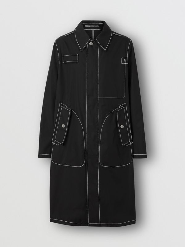 Topstitch Detail Cotton Gabardine Car Coat in Black - Men | Burberry - cell image 3