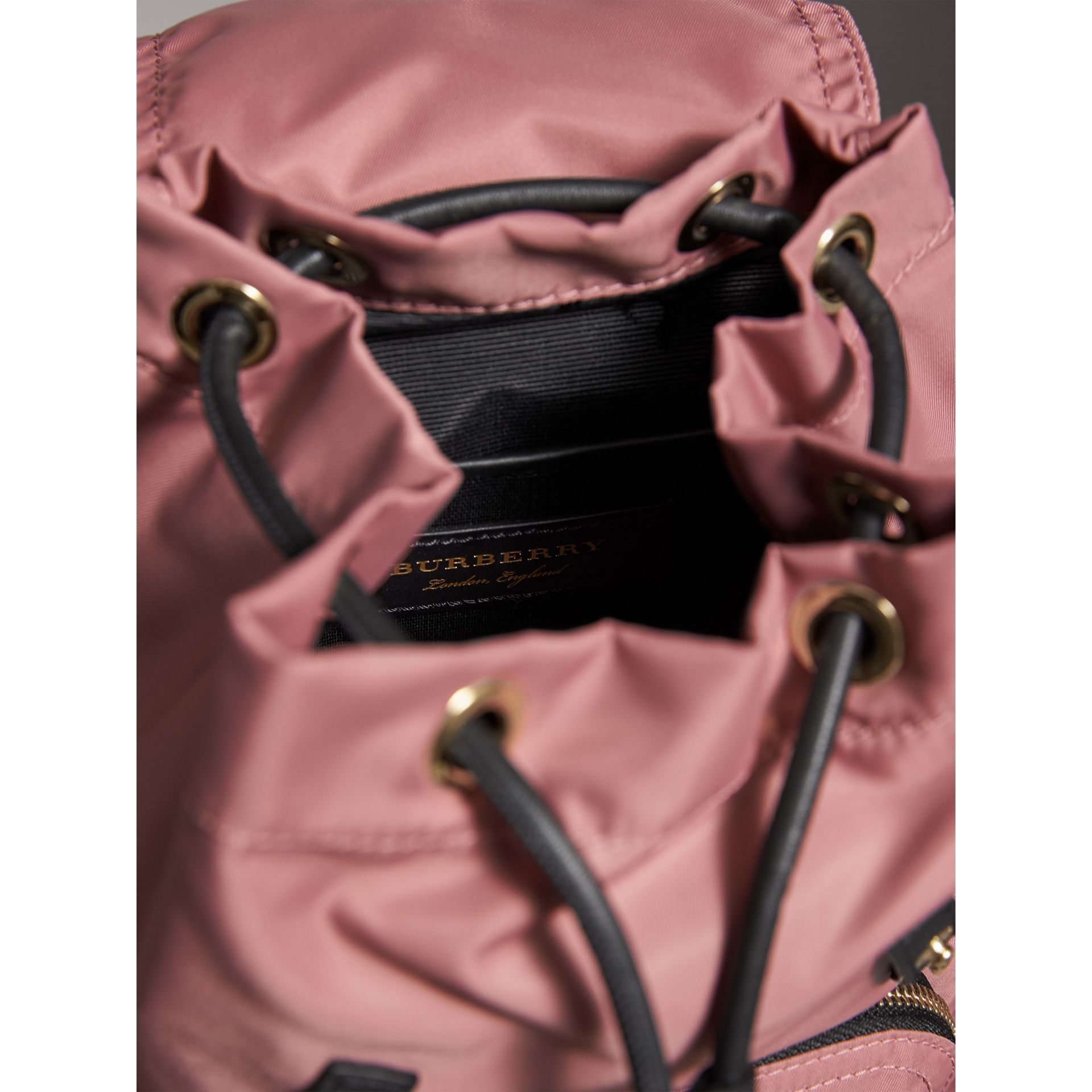 The Small Rucksack in Technical Nylon and Leather in Mauve Pink - Women | Burberry - gallery image 4