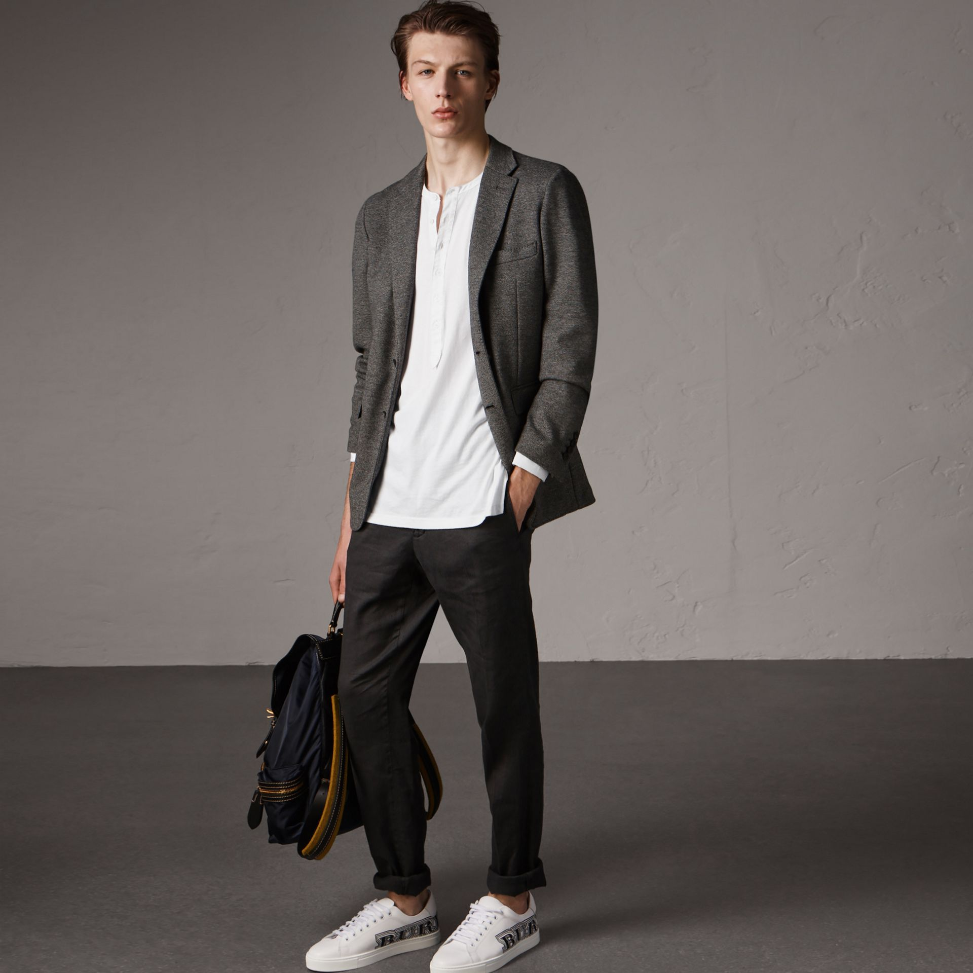 Soho Fit Cotton Wool Jersey Tailored Jacket in Charcoal Melange - Men | Burberry - gallery image 1
