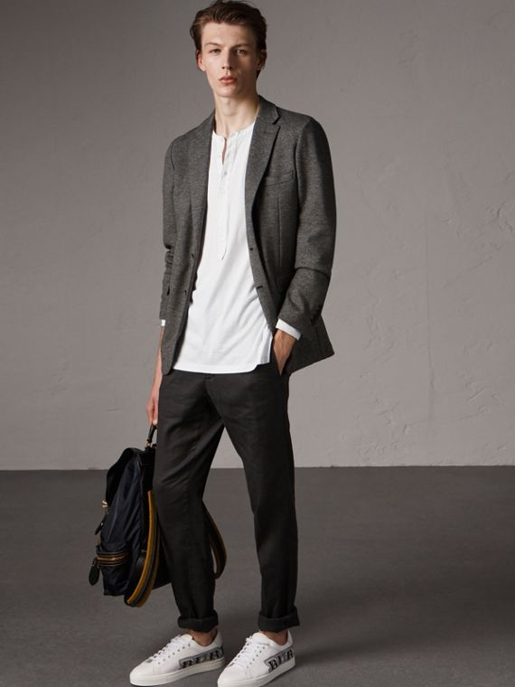 Soho Fit Cotton Wool Jersey Tailored Jacket in Charcoal Melange