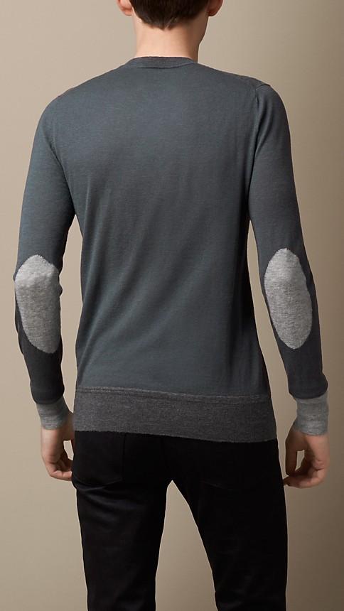 Dark grey melange Colour Block Cashmere Sweater - Image 2