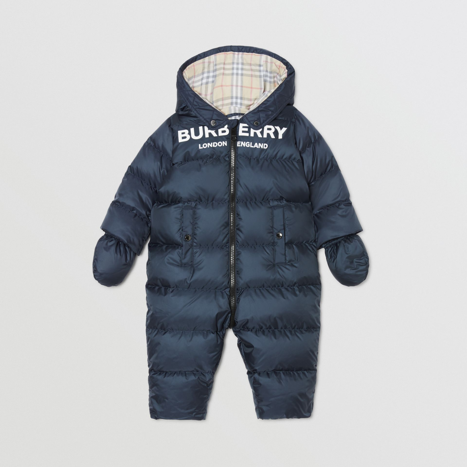 Logo Print Down-filled Puffer Suit in Navy - Children | Burberry United Kingdom - gallery image 2