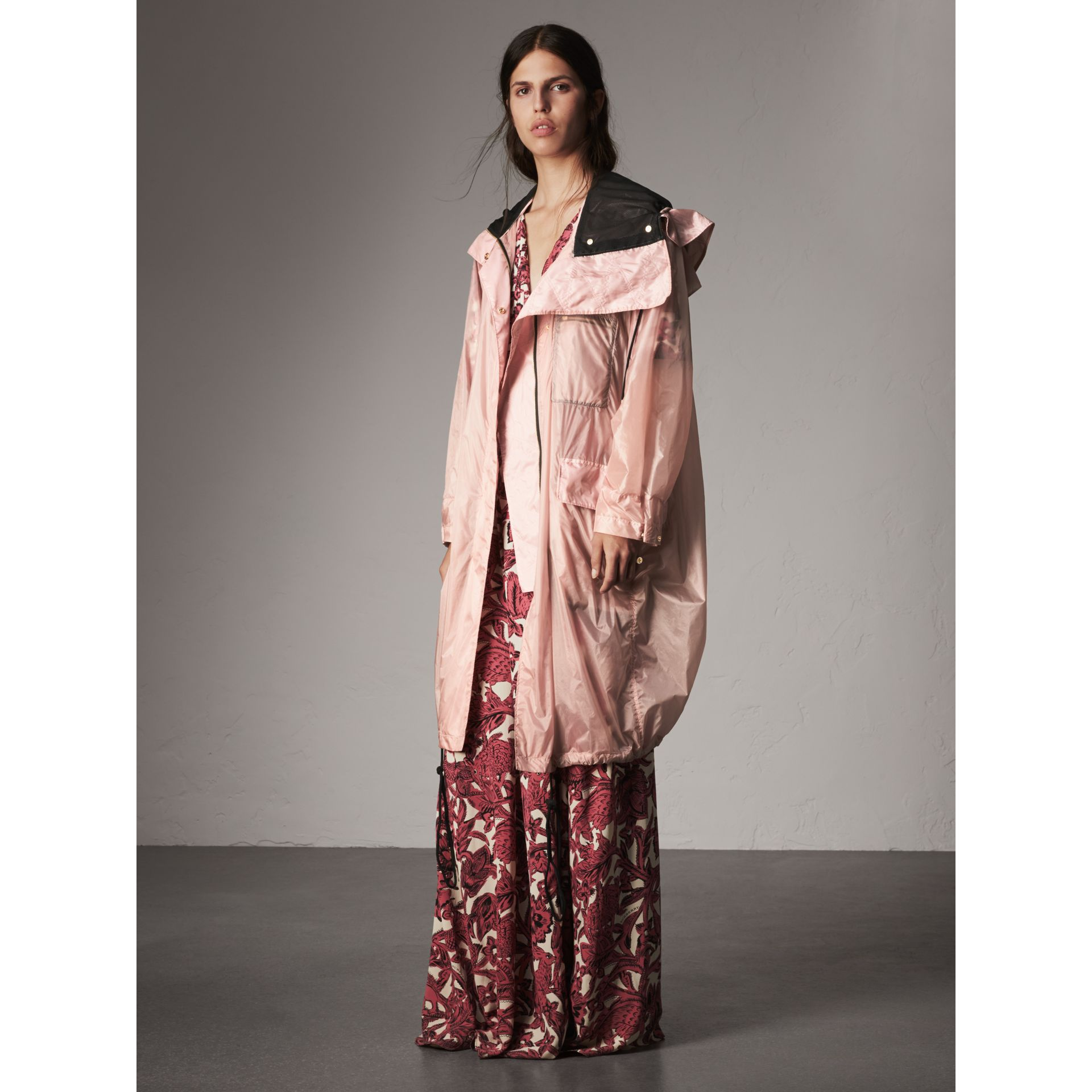 Hooded Lightweight Oversize Parka in Ash Rose - Women | Burberry - gallery image 7