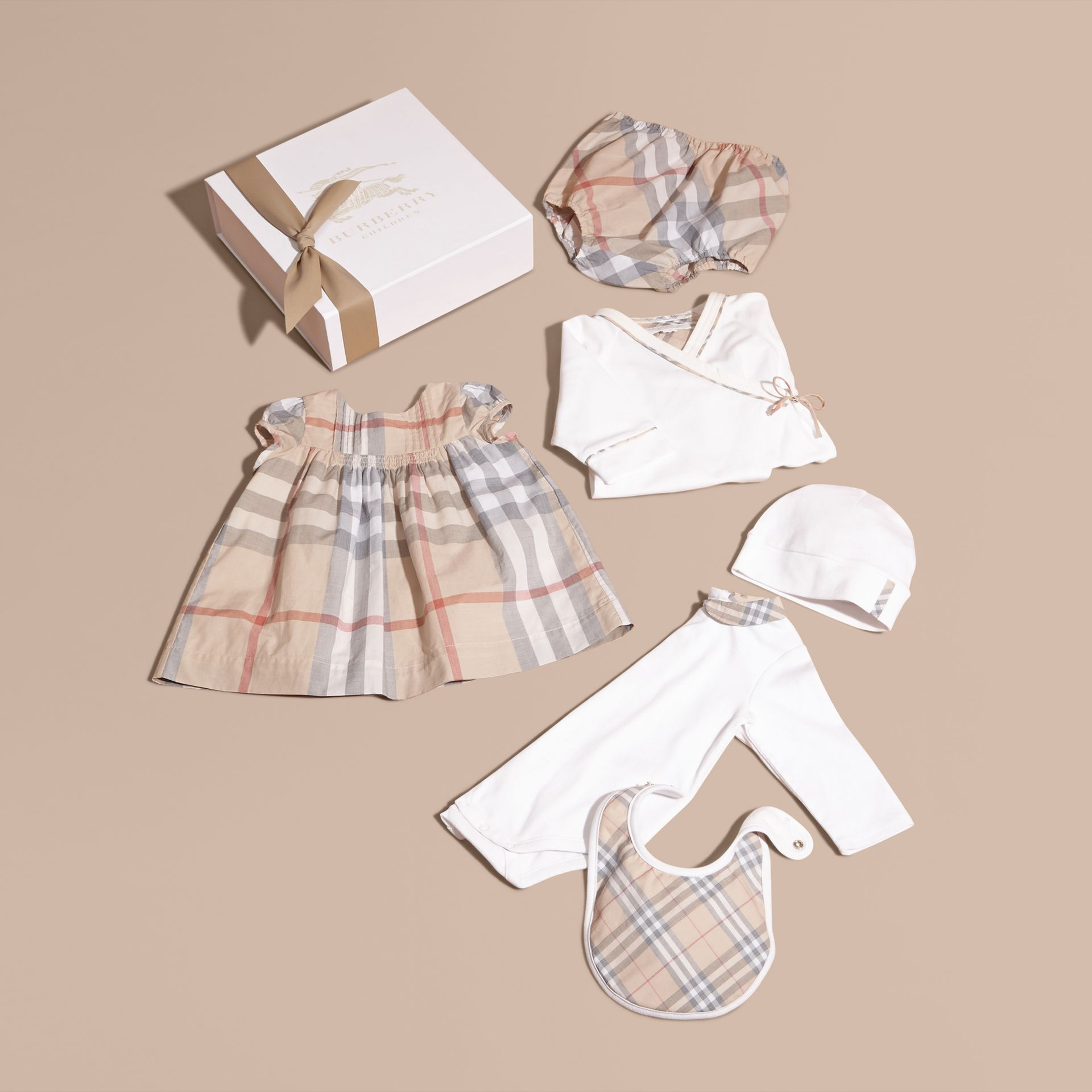 Cotton Six-piece Baby Gift Set in White | Burberry - gallery image 1