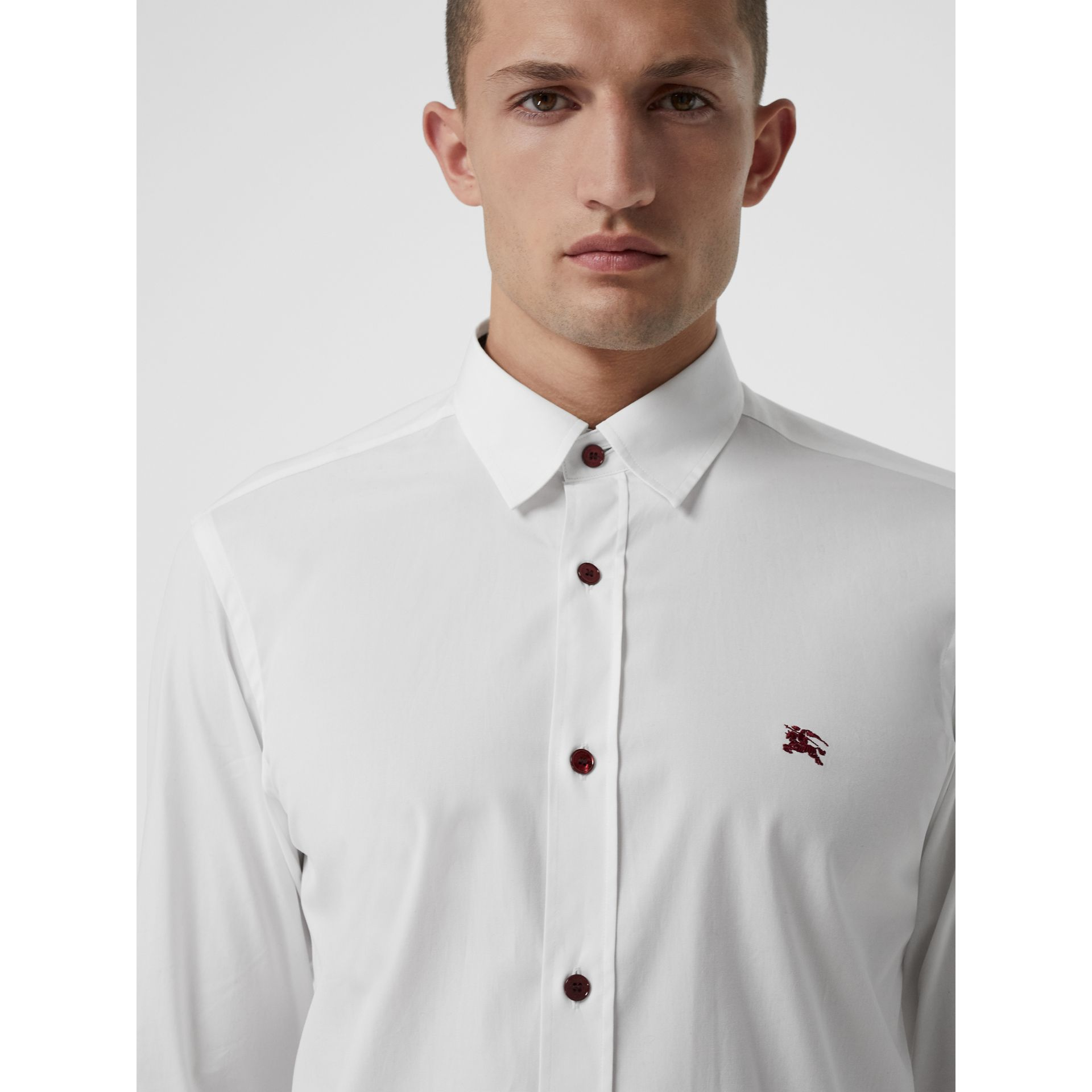 Contrast Button Stretch Cotton Shirt in White - Men | Burberry Singapore - gallery image 1