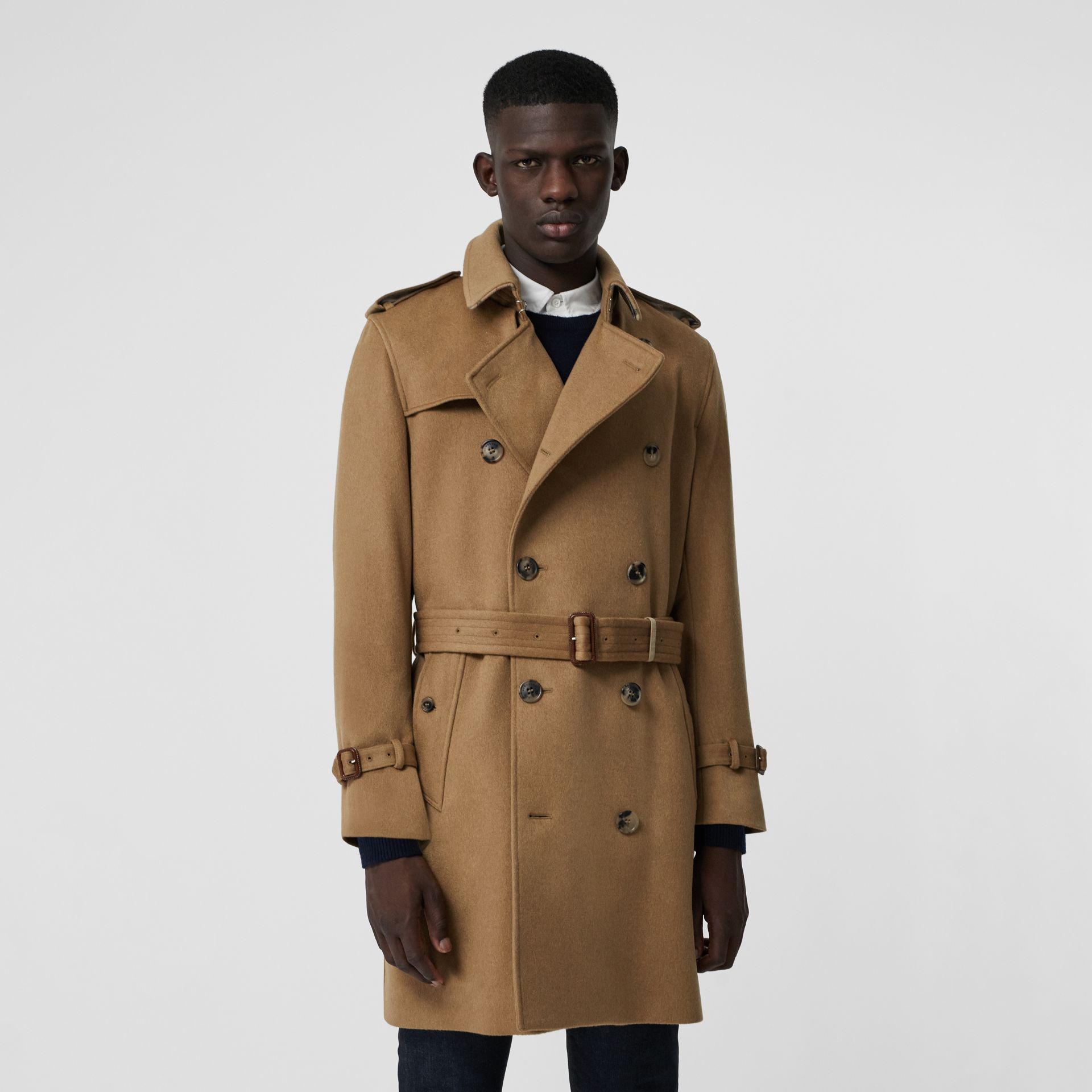 Cashmere Trench Coat in Camel - Men | Burberry Australia - gallery image 4