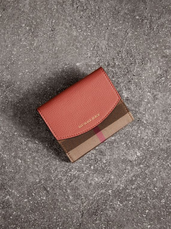 House Check and Leather Wallet in Cinnamon Red