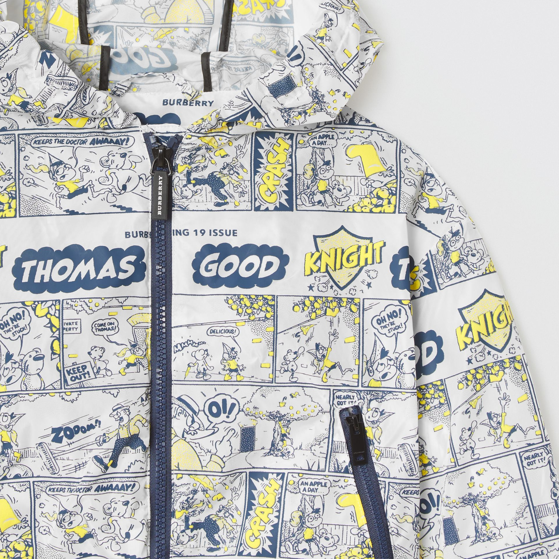Comic Strip Print Lightweight Hooded Jacket in Citron | Burberry - gallery image 3
