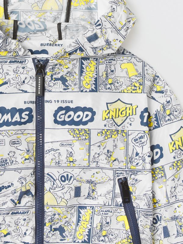 Comic Strip Print Lightweight Hooded Jacket in Citron | Burberry - cell image 3