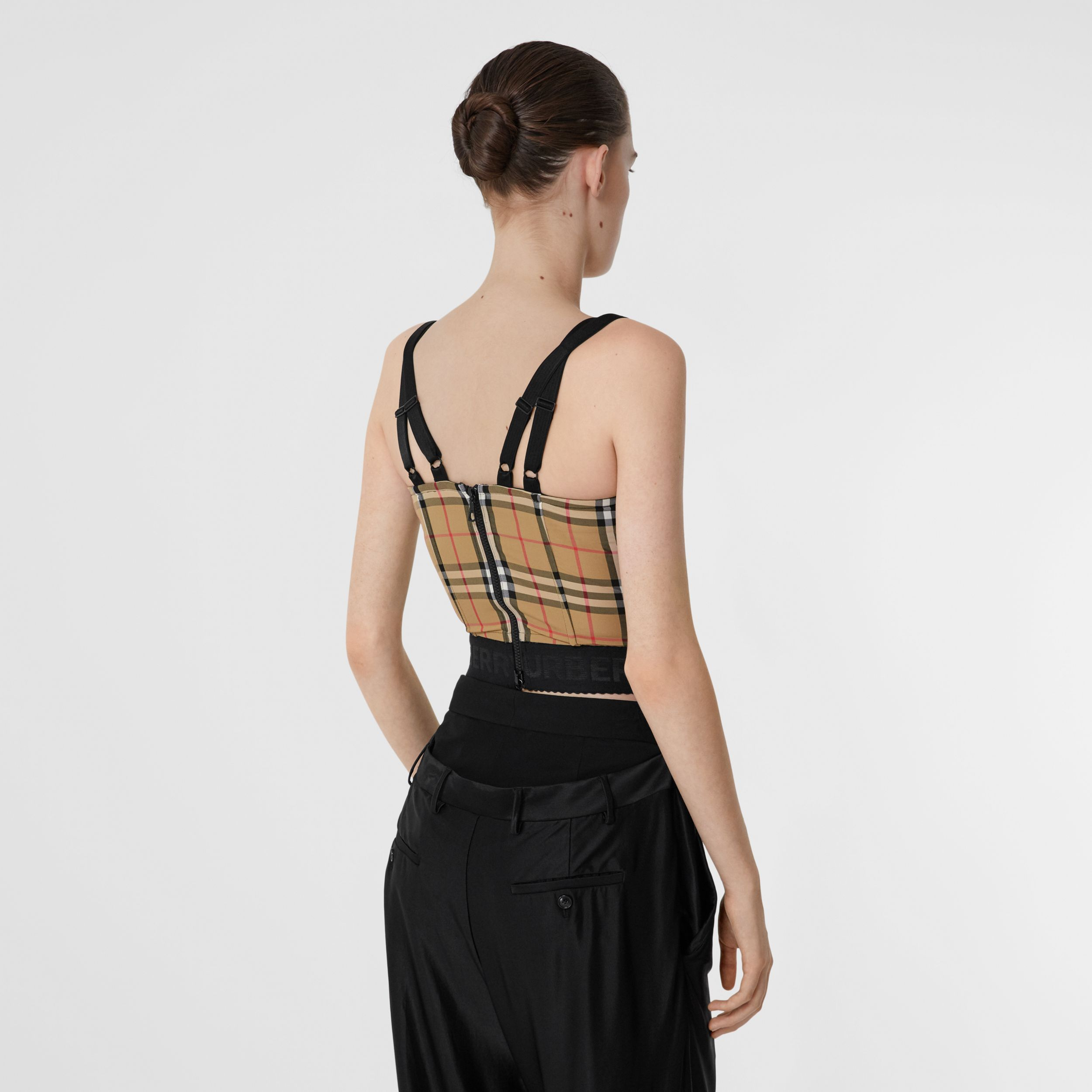 Vintage Check Stretch Jersey Corset Top in Archive Beige - Women | Burberry - 3