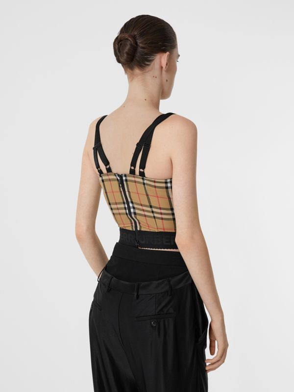 Vintage Check Stretch Jersey Corset Top in Archive Beige - Women | Burberry - cell image 2
