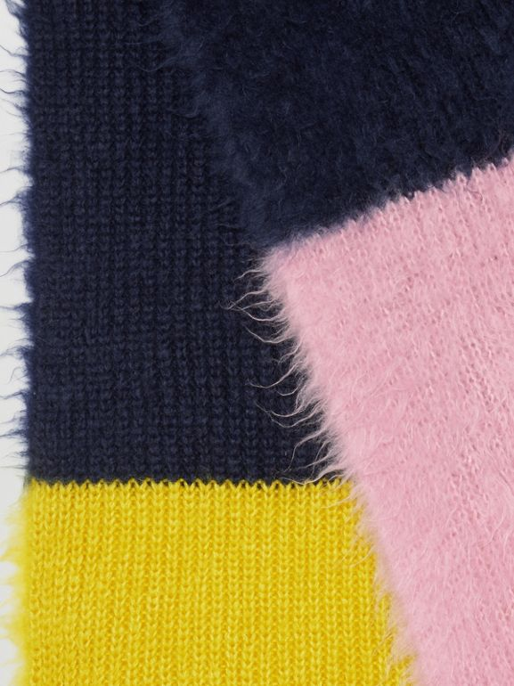 Colour Block Mohair Silk Oversized Scarf in Ink Blue | Burberry - cell image 1