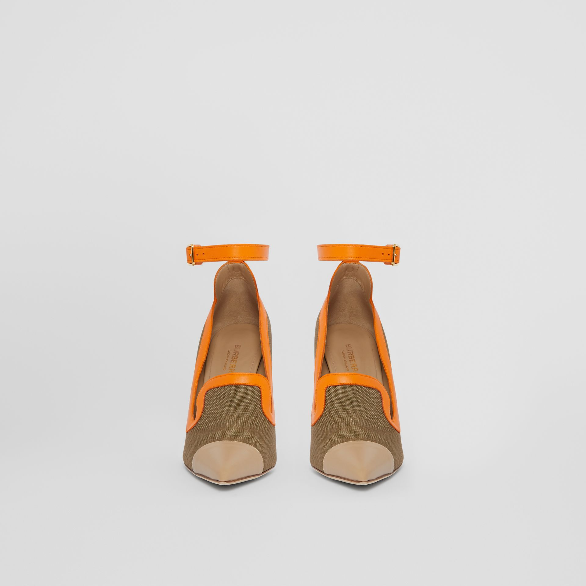 Canvas and Leather Point-toe Pumps in Camel - Women | Burberry Australia - gallery image 3
