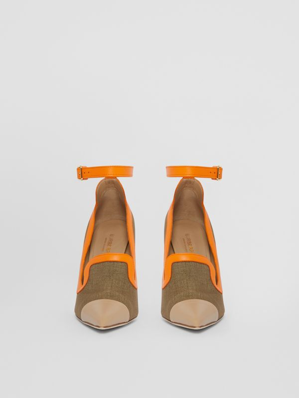 Canvas and Leather Point-toe Pumps in Camel - Women | Burberry - cell image 3
