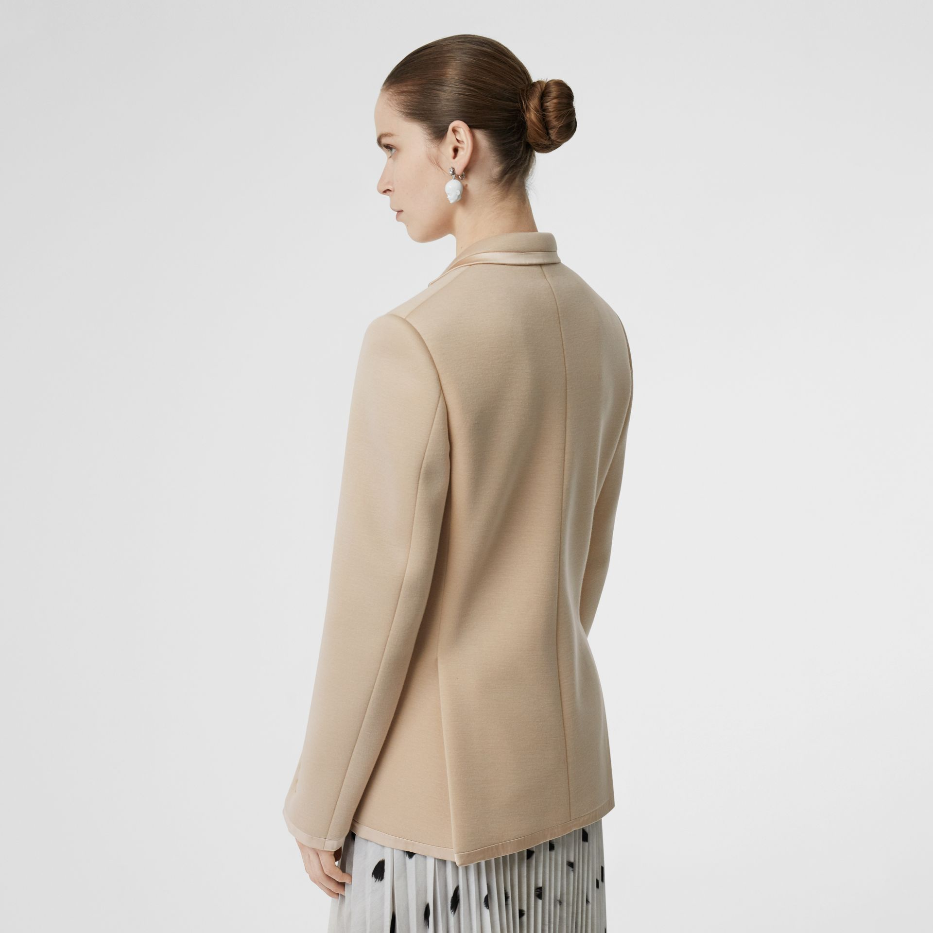 Silk Trim Neoprene Blazer in Teddy Beige - Women | Burberry Australia - gallery image 2