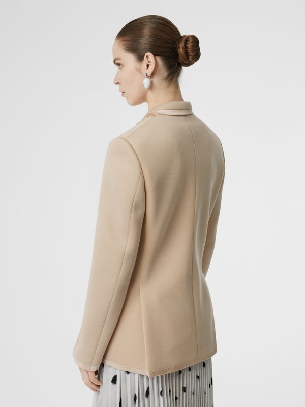 Silk Trim Neoprene Blazer in Teddy Beige - Women | Burberry Australia - cell image 2