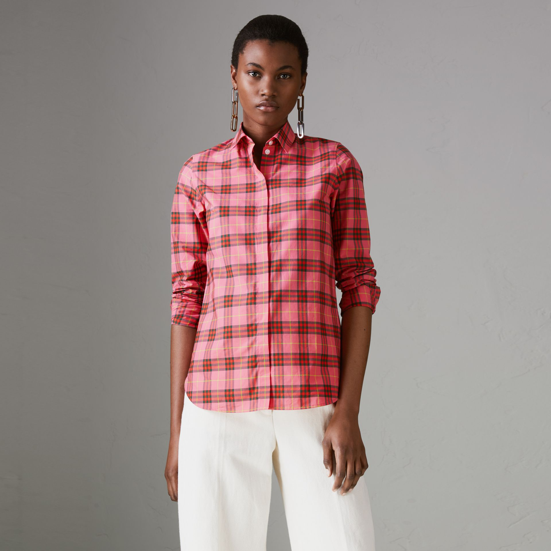 Check Cotton Shirt in Coral Red - Women | Burberry Singapore - gallery image 0