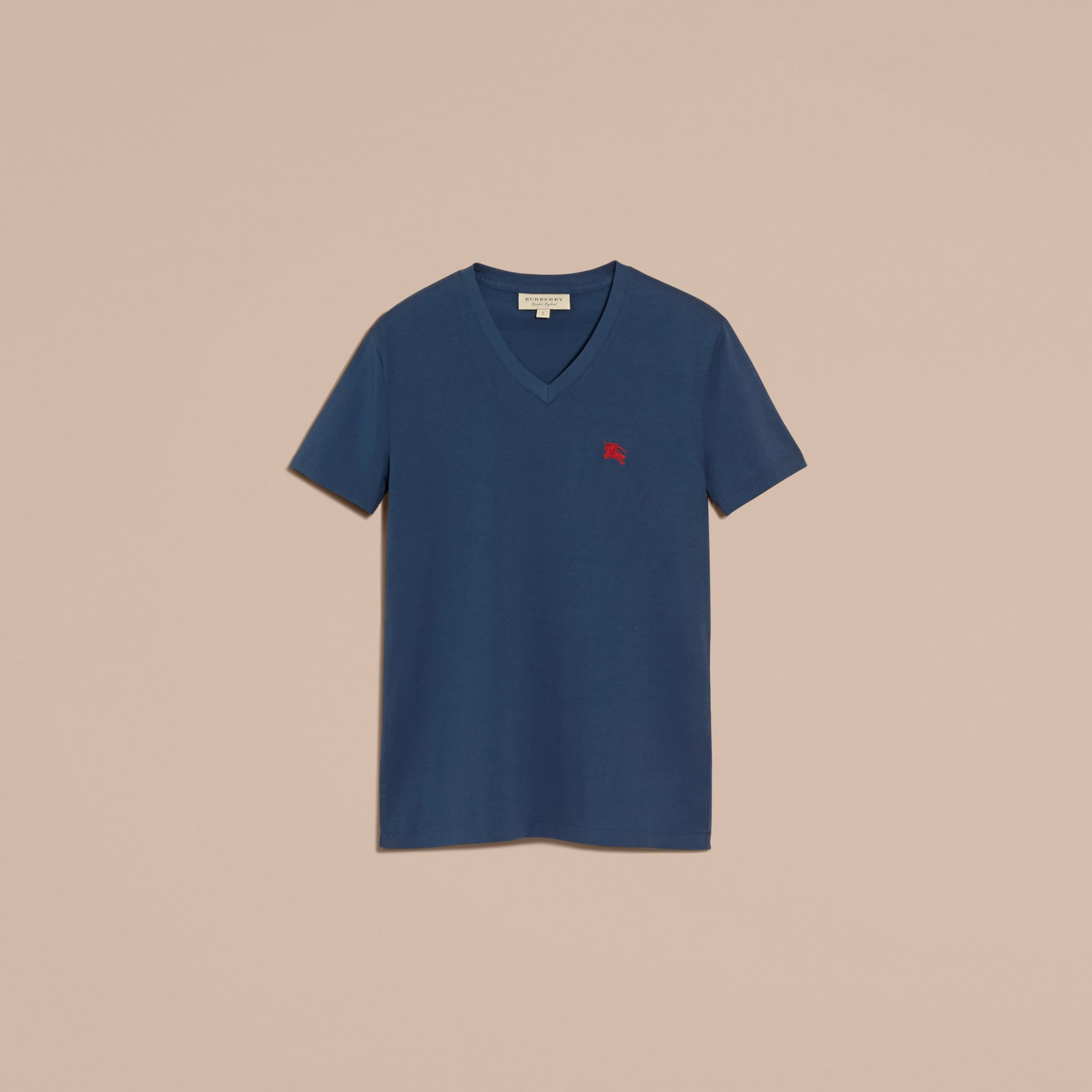 Cotton V-neck T-shirt Navy - gallery image 4