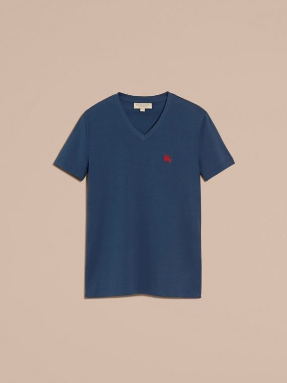 Cotton V-neck T-shirt in Navy - cell image 3