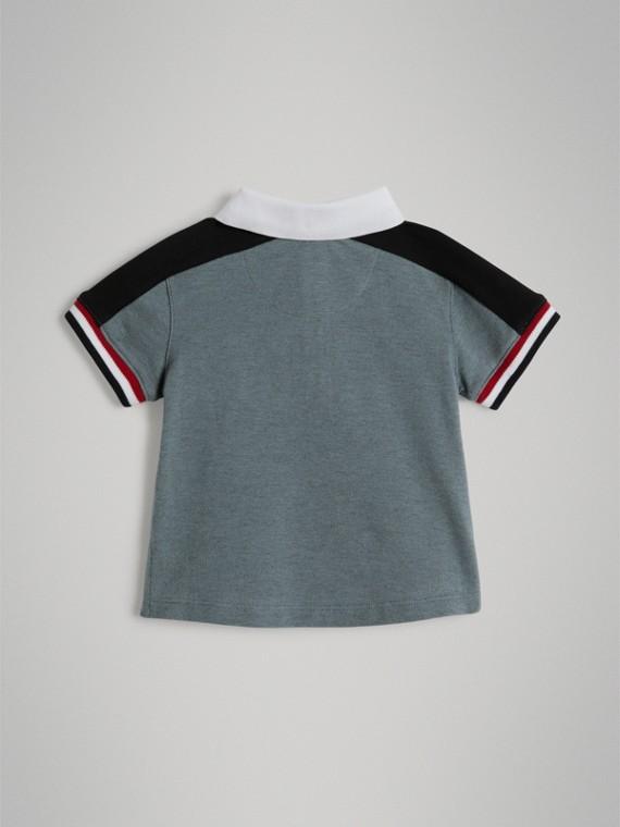 Polo in cotone piqué con dettaglio a righe (Blu Cipria) | Burberry - cell image 3