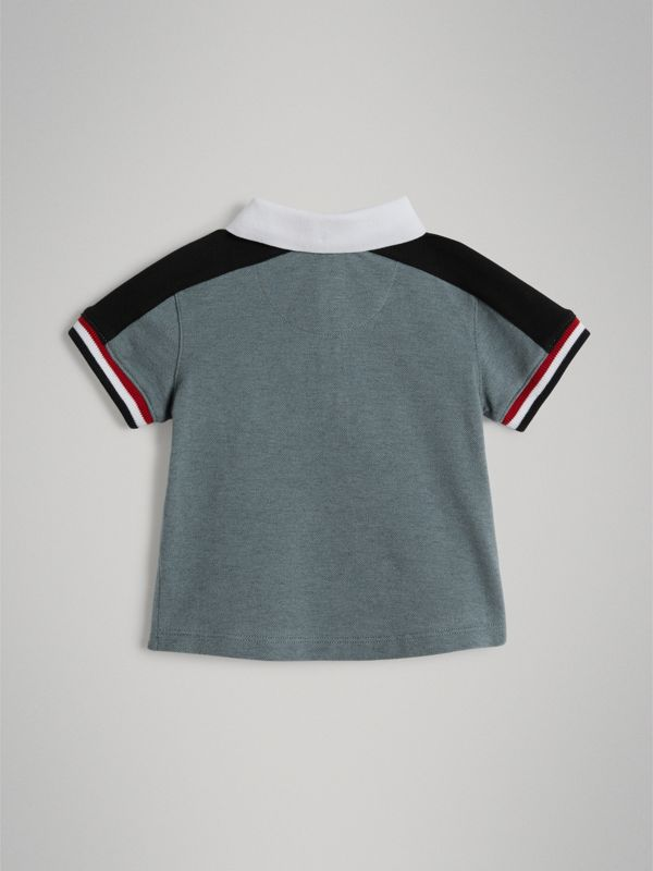 Stripe Detail Cotton Piqué Polo Shirt in Powder Blue - Children | Burberry Singapore - cell image 3