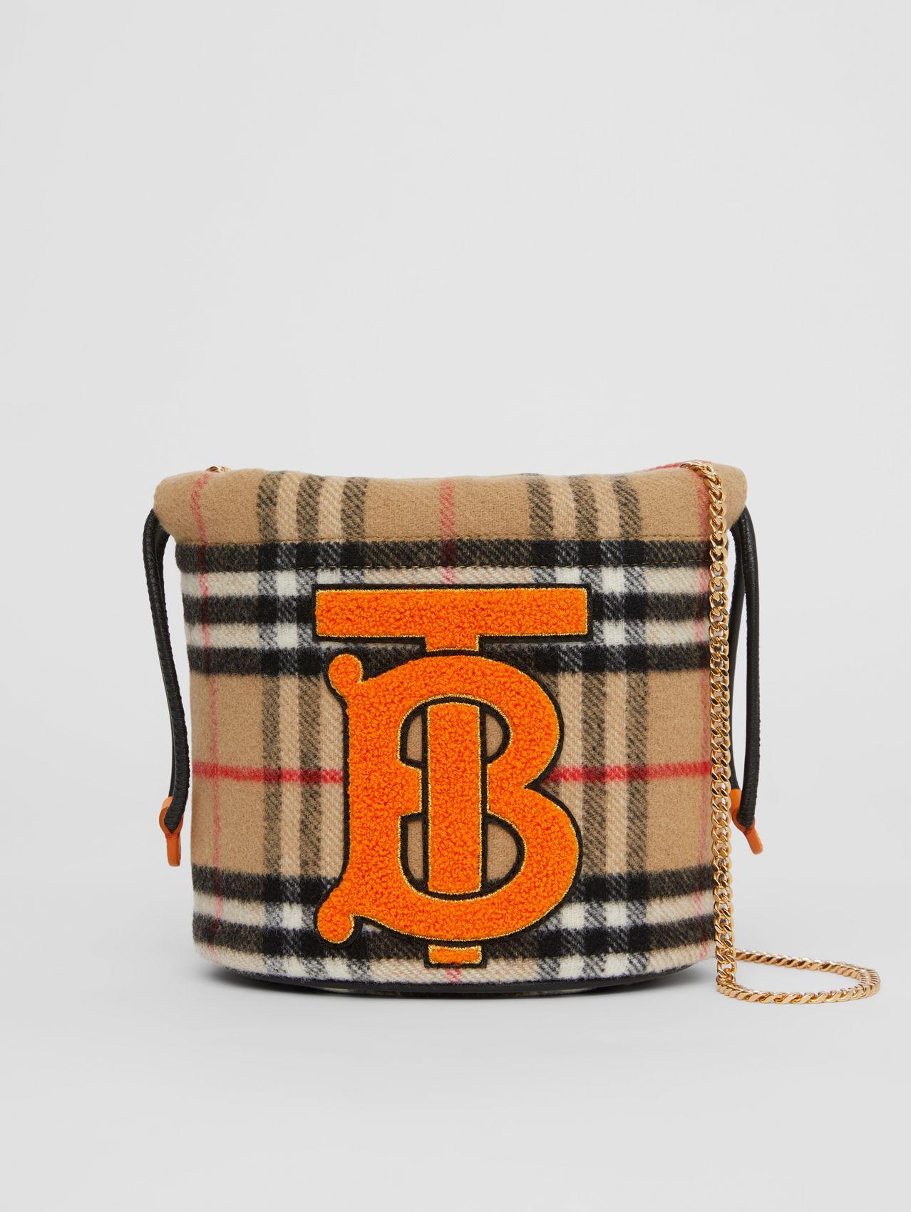 Monogram Motif Vintage Check Drawcord Pouch in Archive Beige