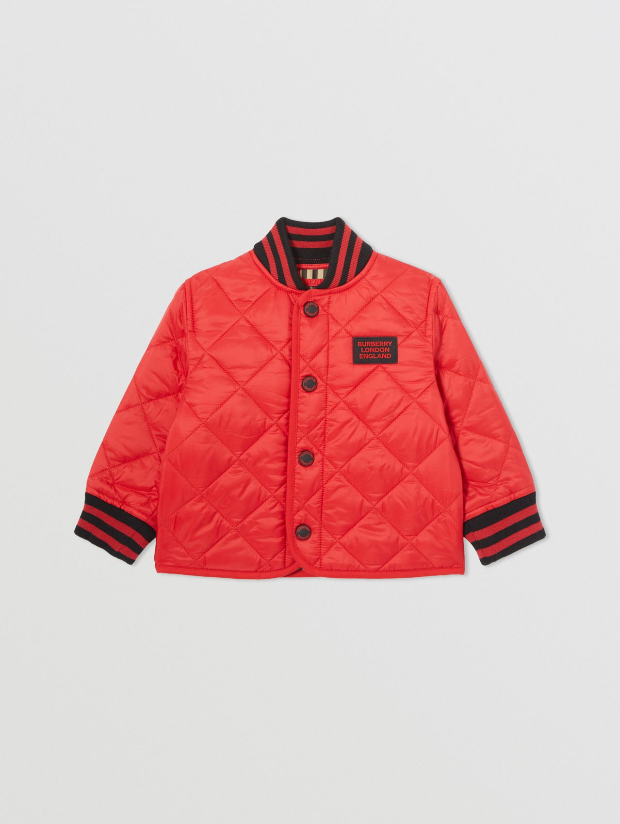 Recycled Polyester Diamond Quilted Jacket in Bright Red