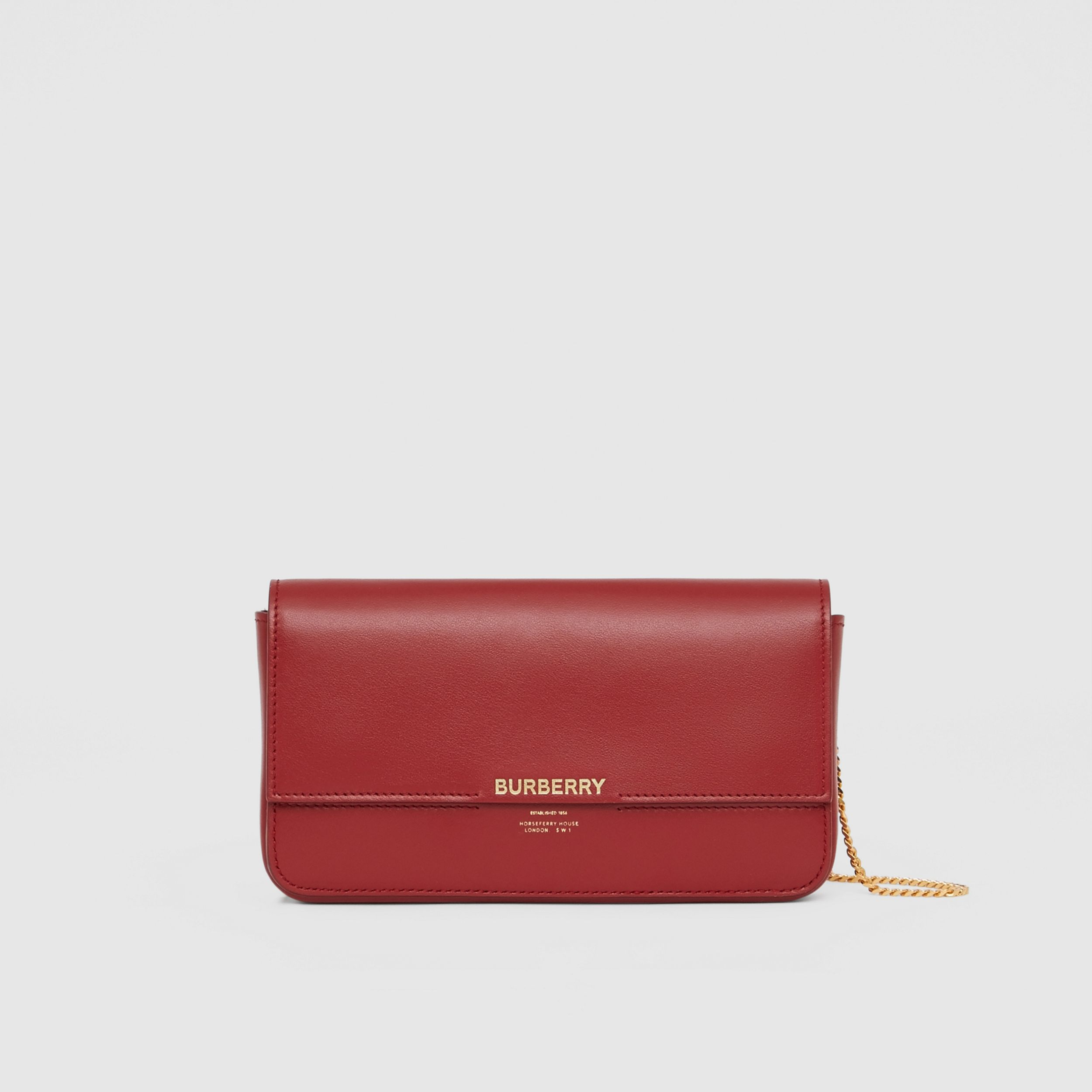 Leather Wallet with Detachable Chain Strap in Dark Crimson - Women | Burberry - 1