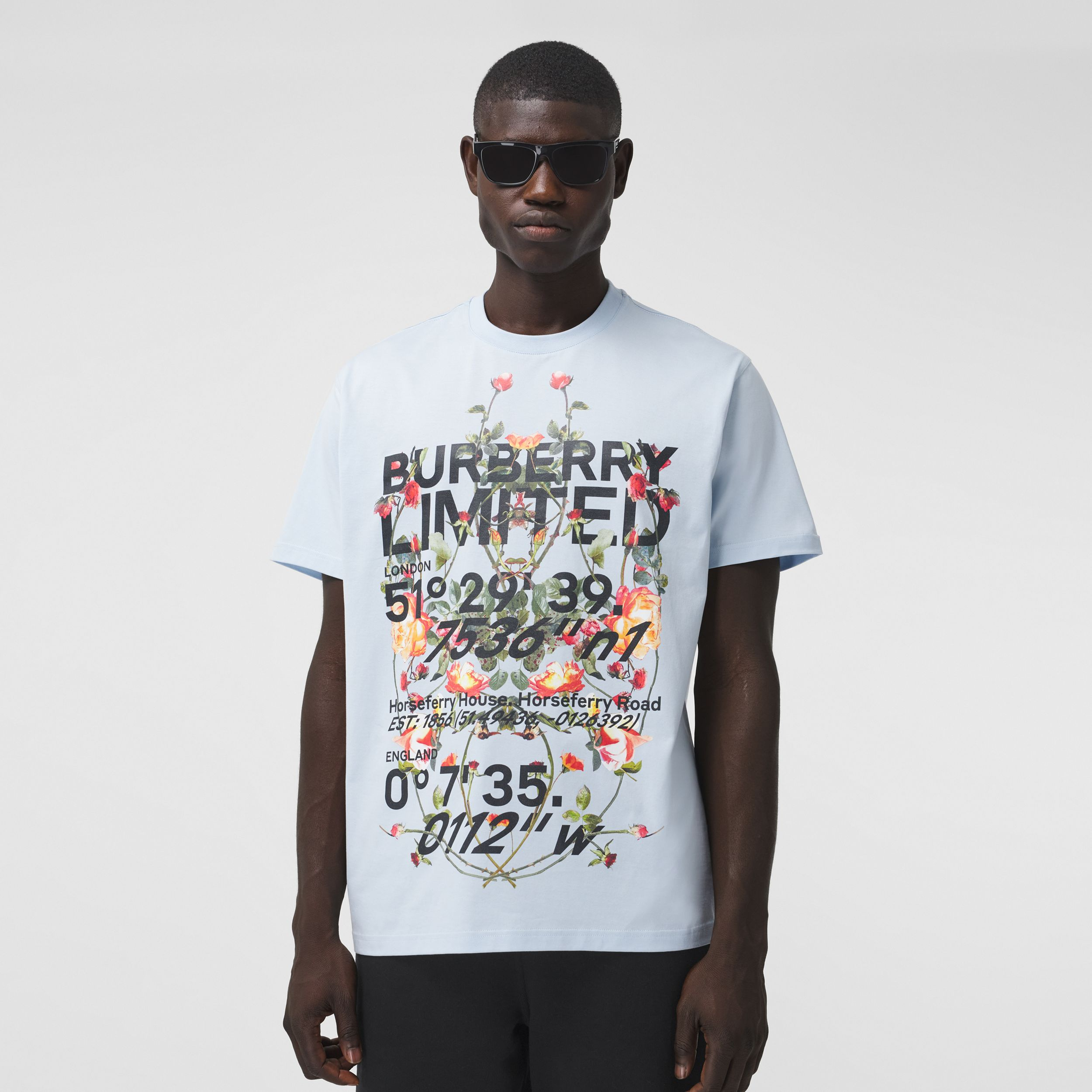 Montage Print Cotton Oversized T-shirt in Pale Blue - Men | Burberry - 1