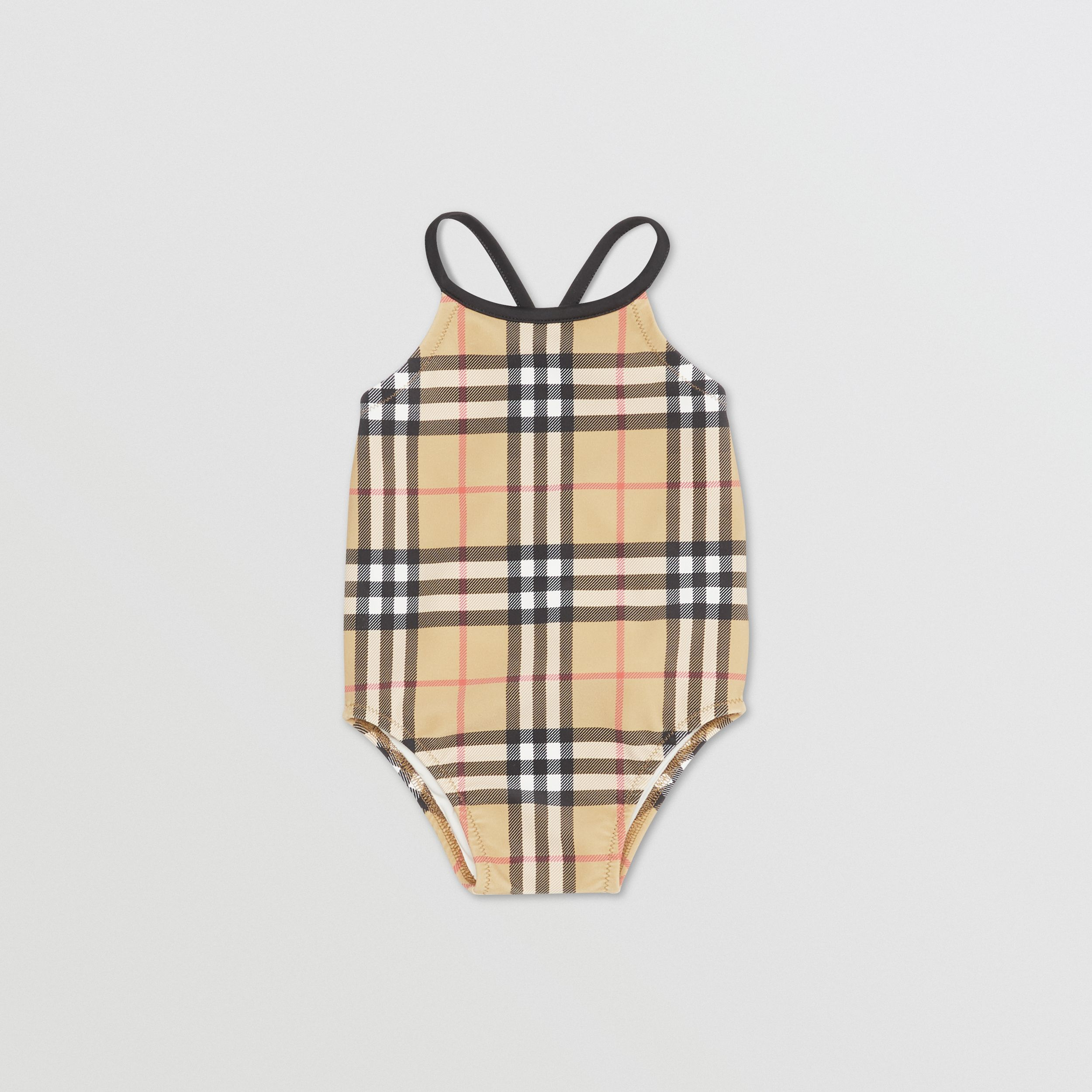 Vintage Check Recycled Nylon Swimsuit in Archive Beige - Children | Burberry - 1