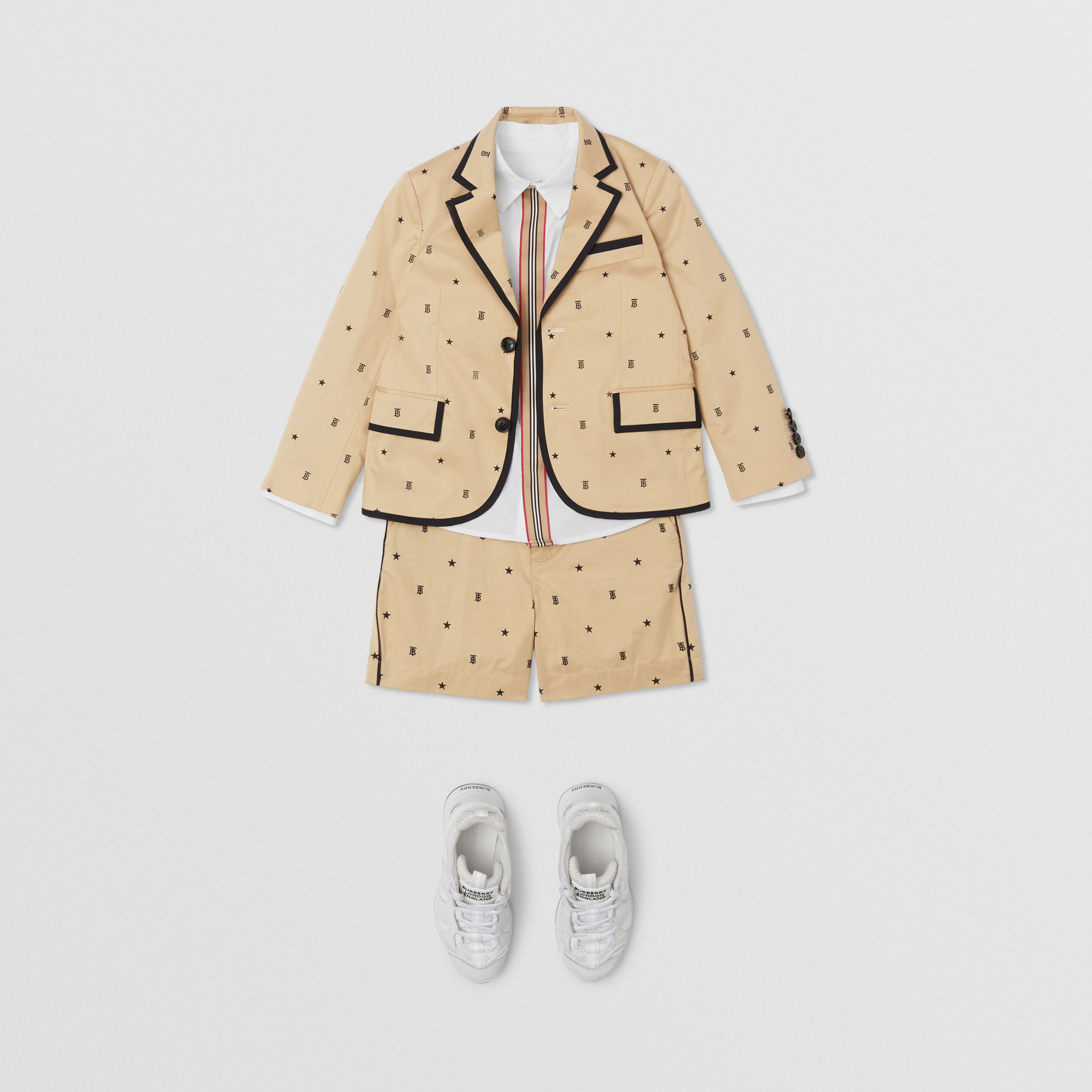 Star and Monogram Motif Stretch Cotton Blazer in Sand | Burberry United Kingdom - 3