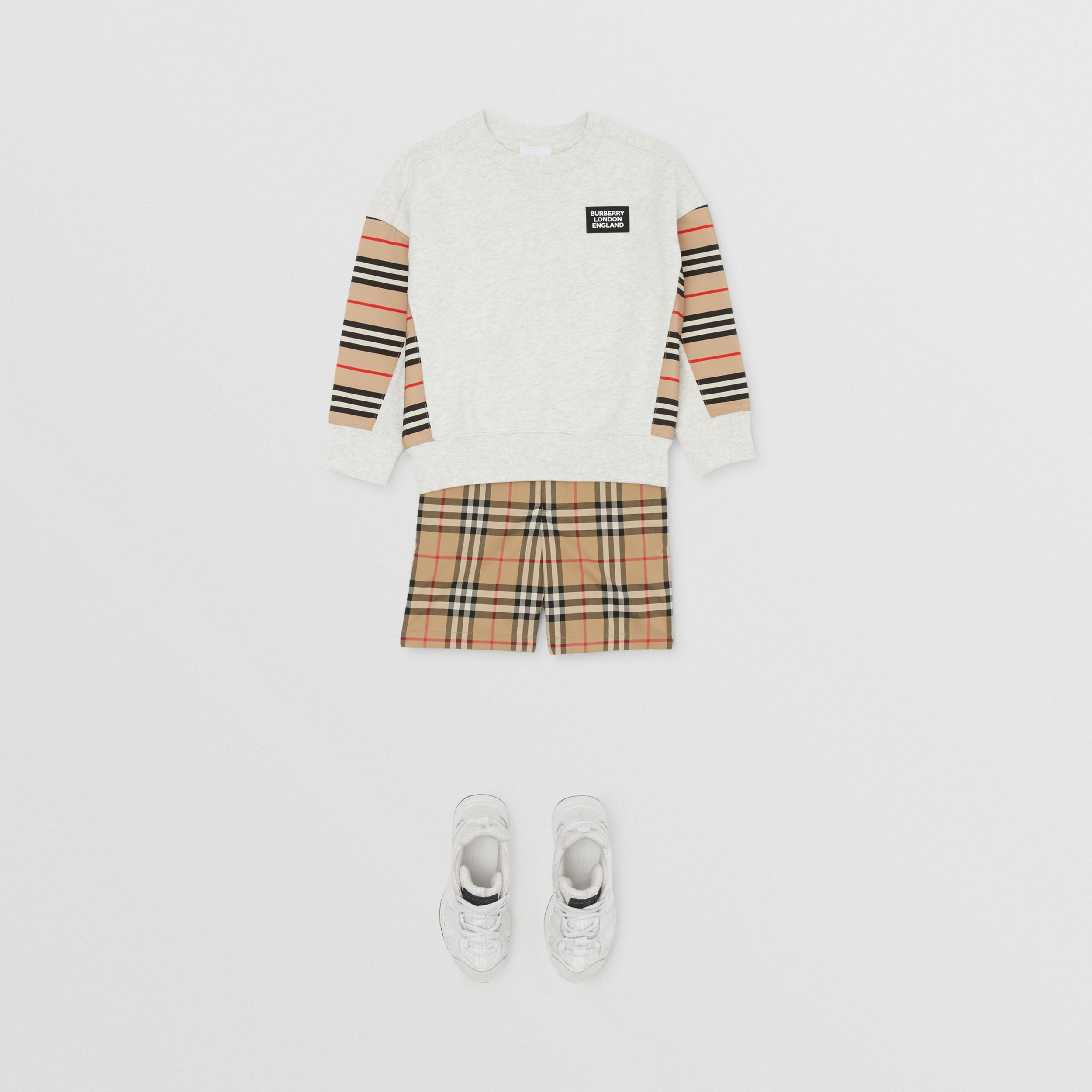 Icon Stripe Panel Cotton Sweatshirt in White Melange | Burberry - 4