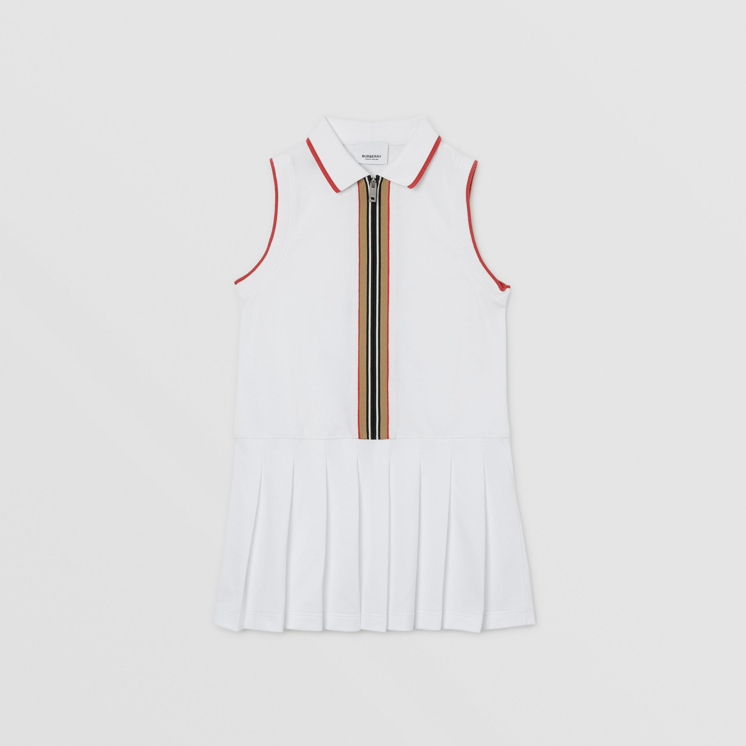 Icon Stripe Detail Cotton Zip-front Polo Dress in White | Burberry - 1