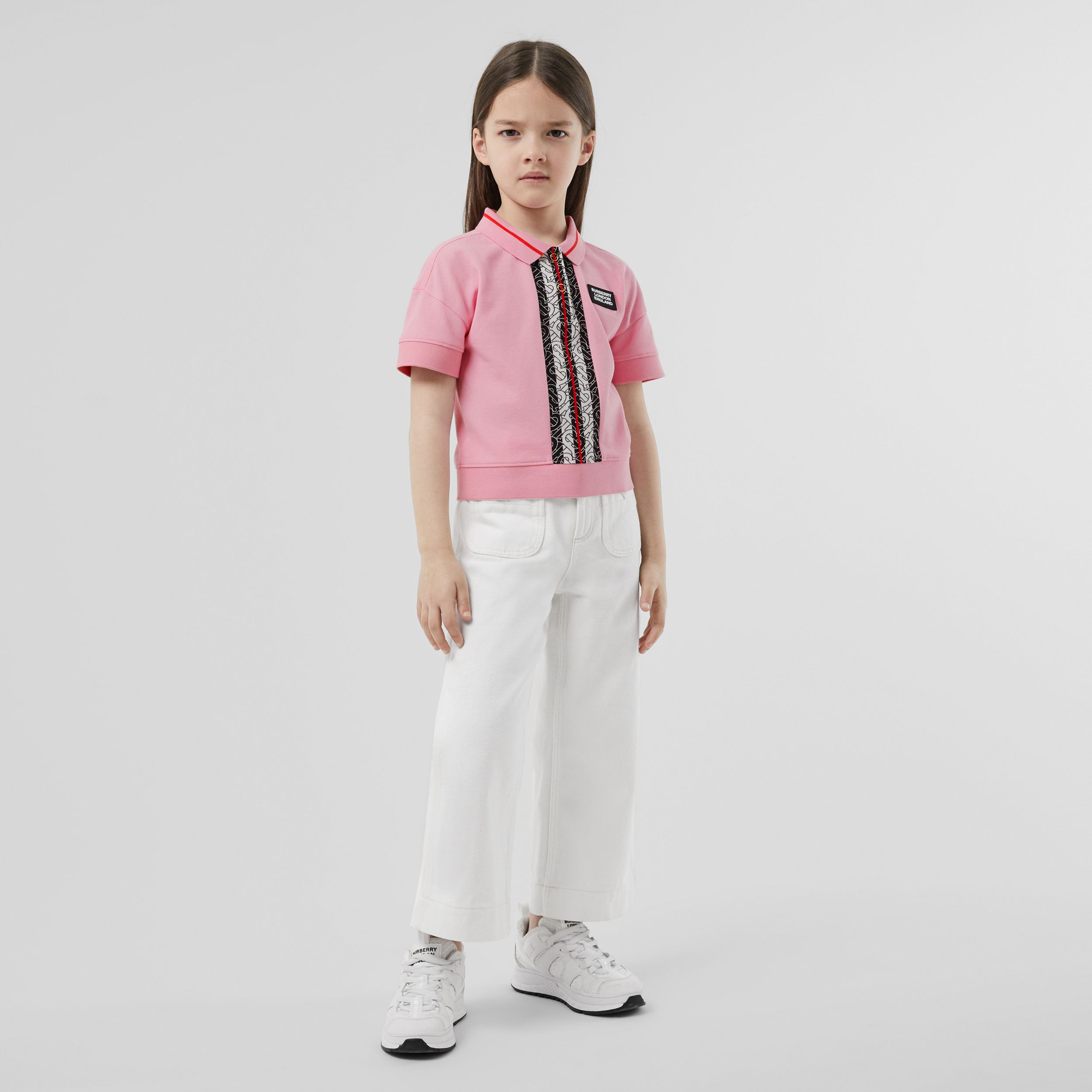 Monogram Stripe Print Cotton Piqué Polo Shirt in Candy Pink | Burberry - 3