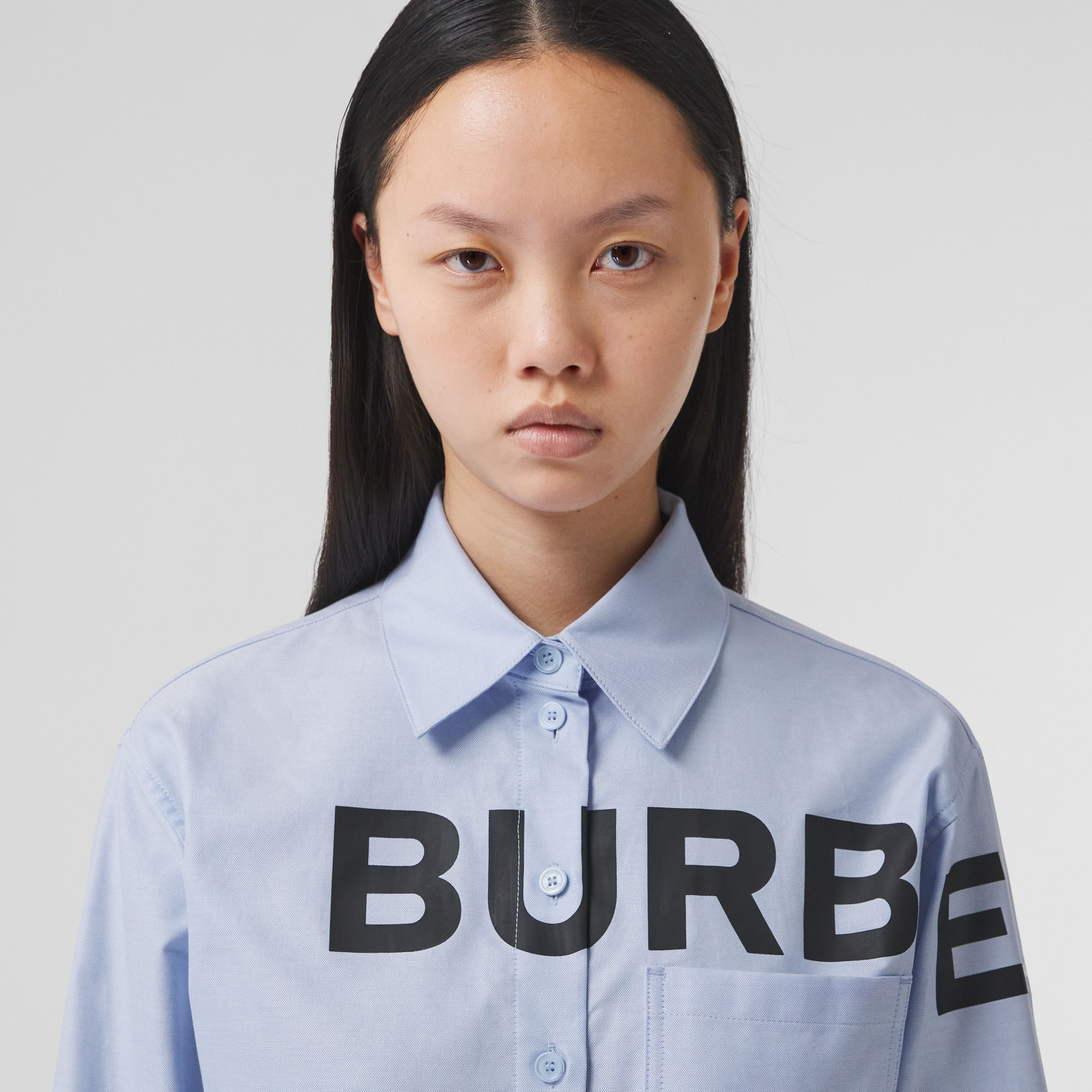 Horseferry Print Cotton Oxford Oversized Shirt in Pale Blue - Women | Burberry - 2