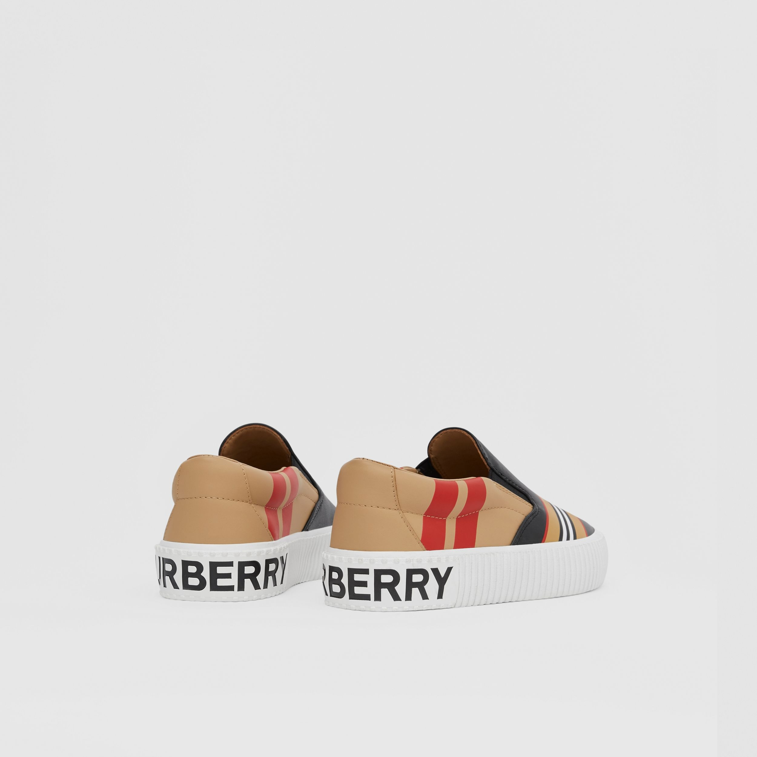 Icon Stripe Print Leather Slip-on Sneakers in Black - Children | Burberry - 3