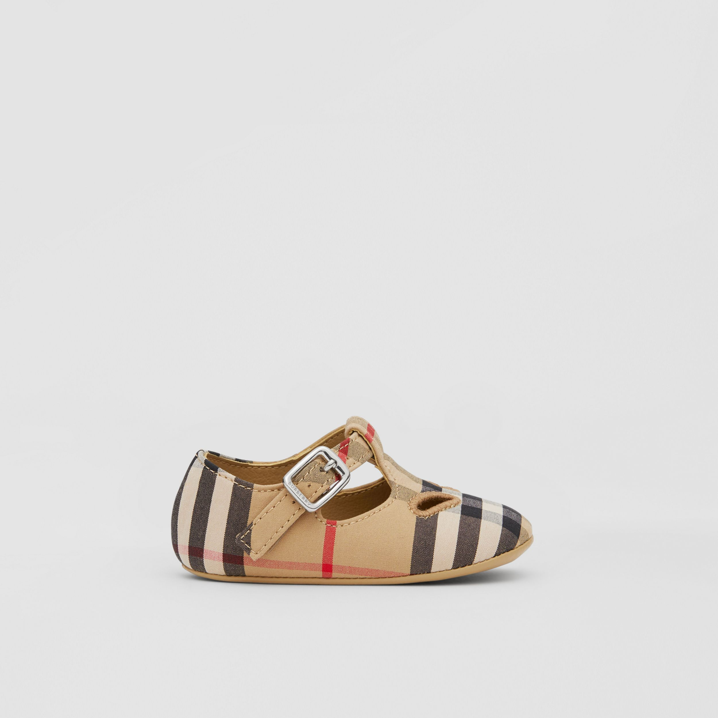 Vintage Check Cotton T-bar Shoes in Archive Beige - Children | Burberry - 4