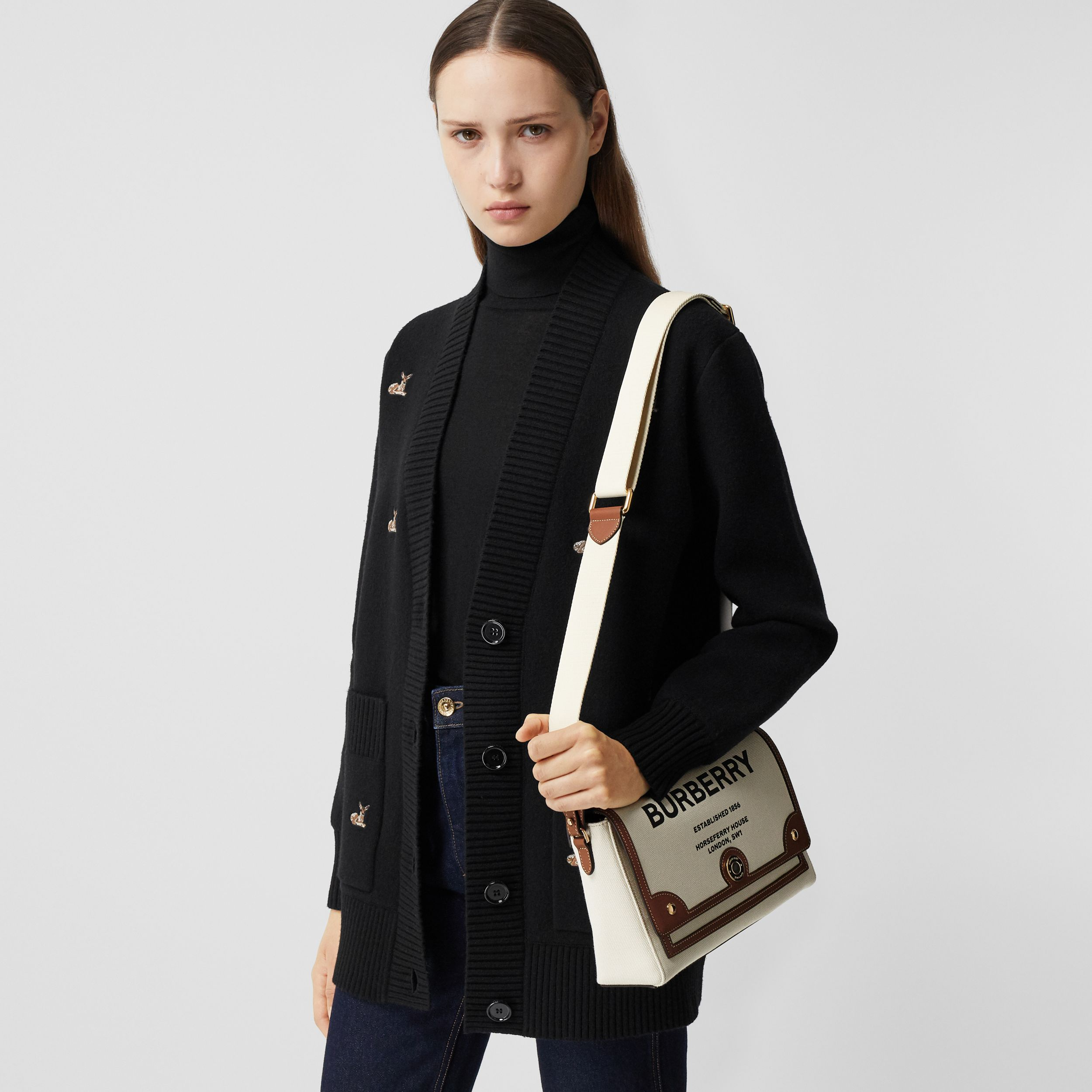 Horseferry Print Canvas Note Crossbody Bag in Natural/tan - Women | Burberry United Kingdom - 3