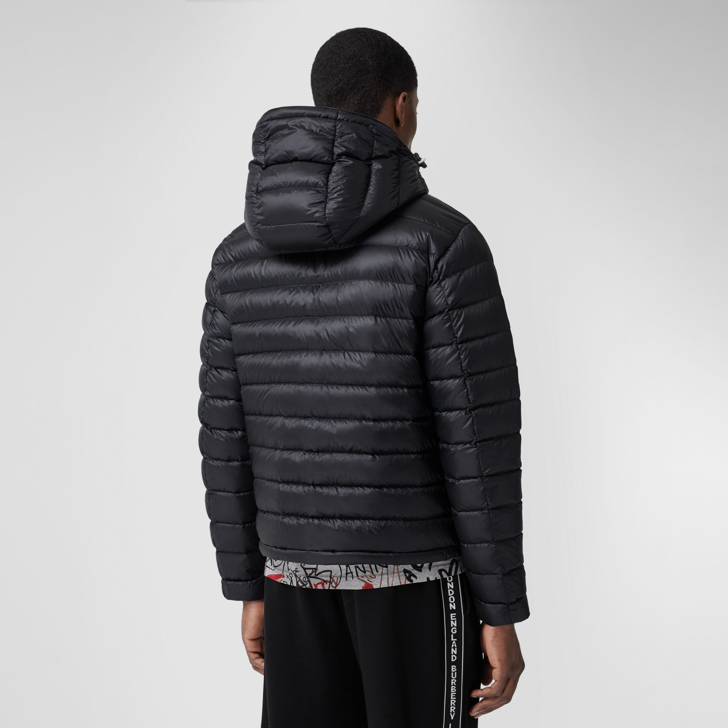 Detachable Hood Logo Appliqué Puffer Jacket in Black - Men | Burberry - 3