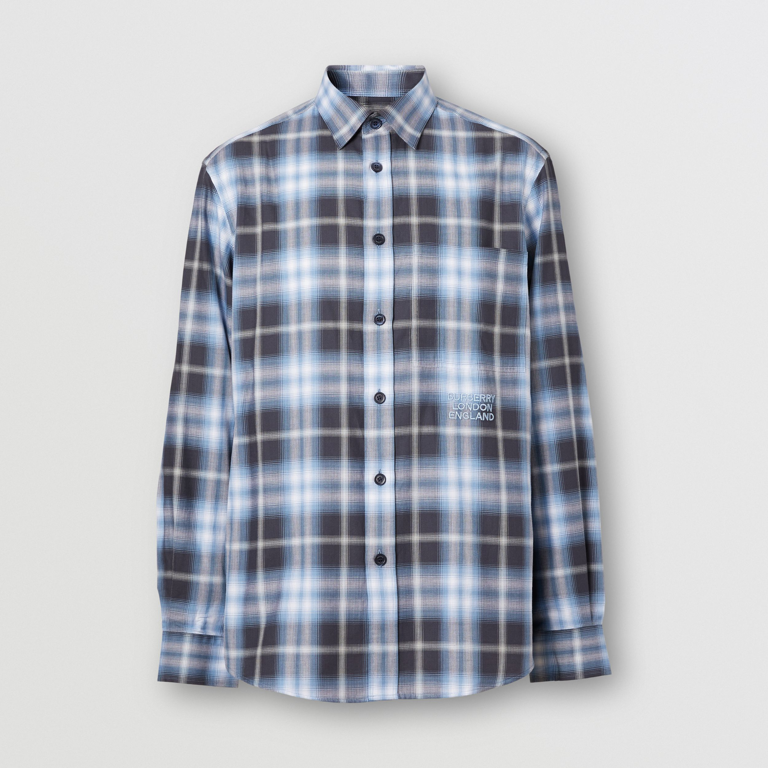 Embroidered Logo Ombré Check Cotton Shirt in Navy - Men | Burberry - 4