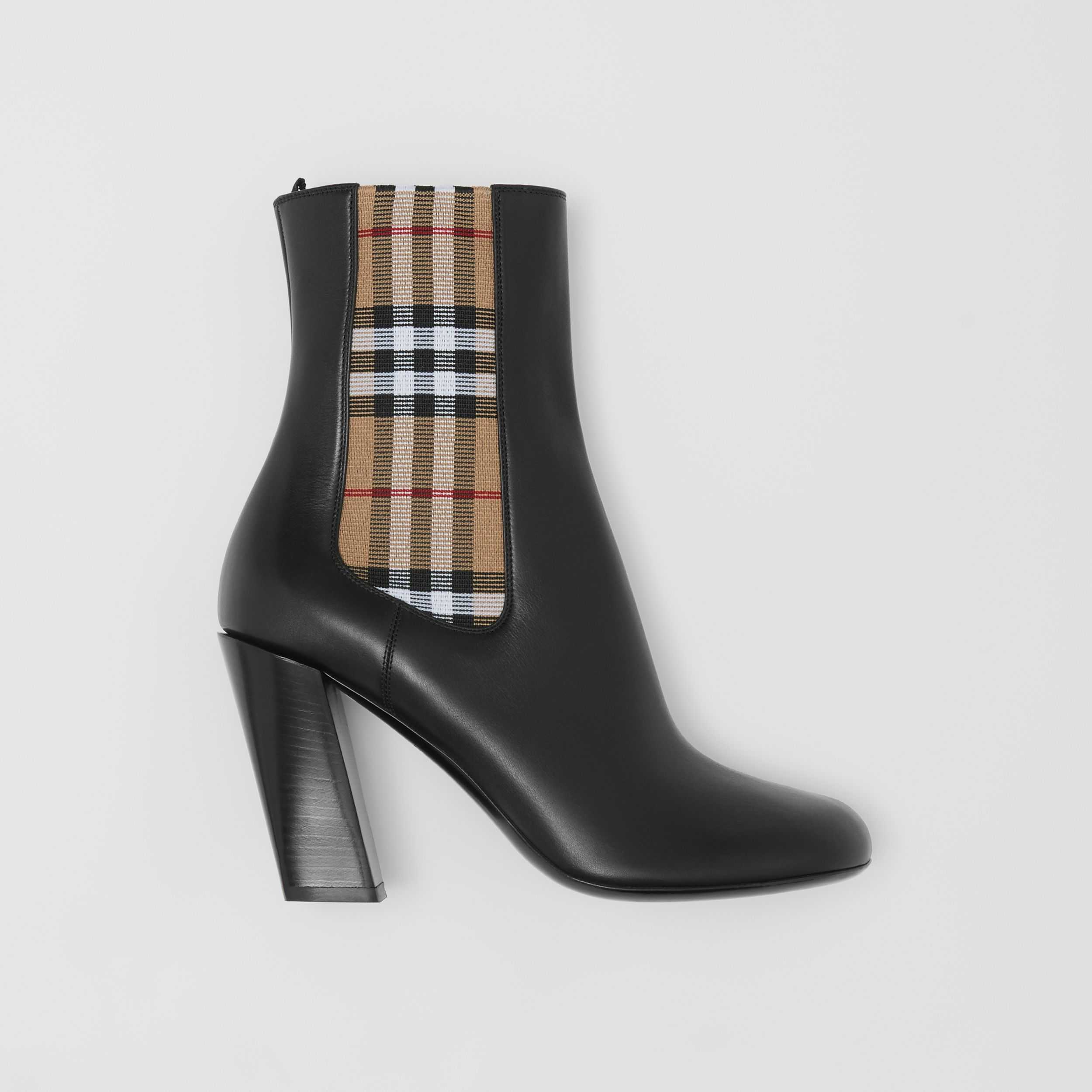 Vintage Check Detail Leather Ankle Boots in Black - Women | Burberry - 1