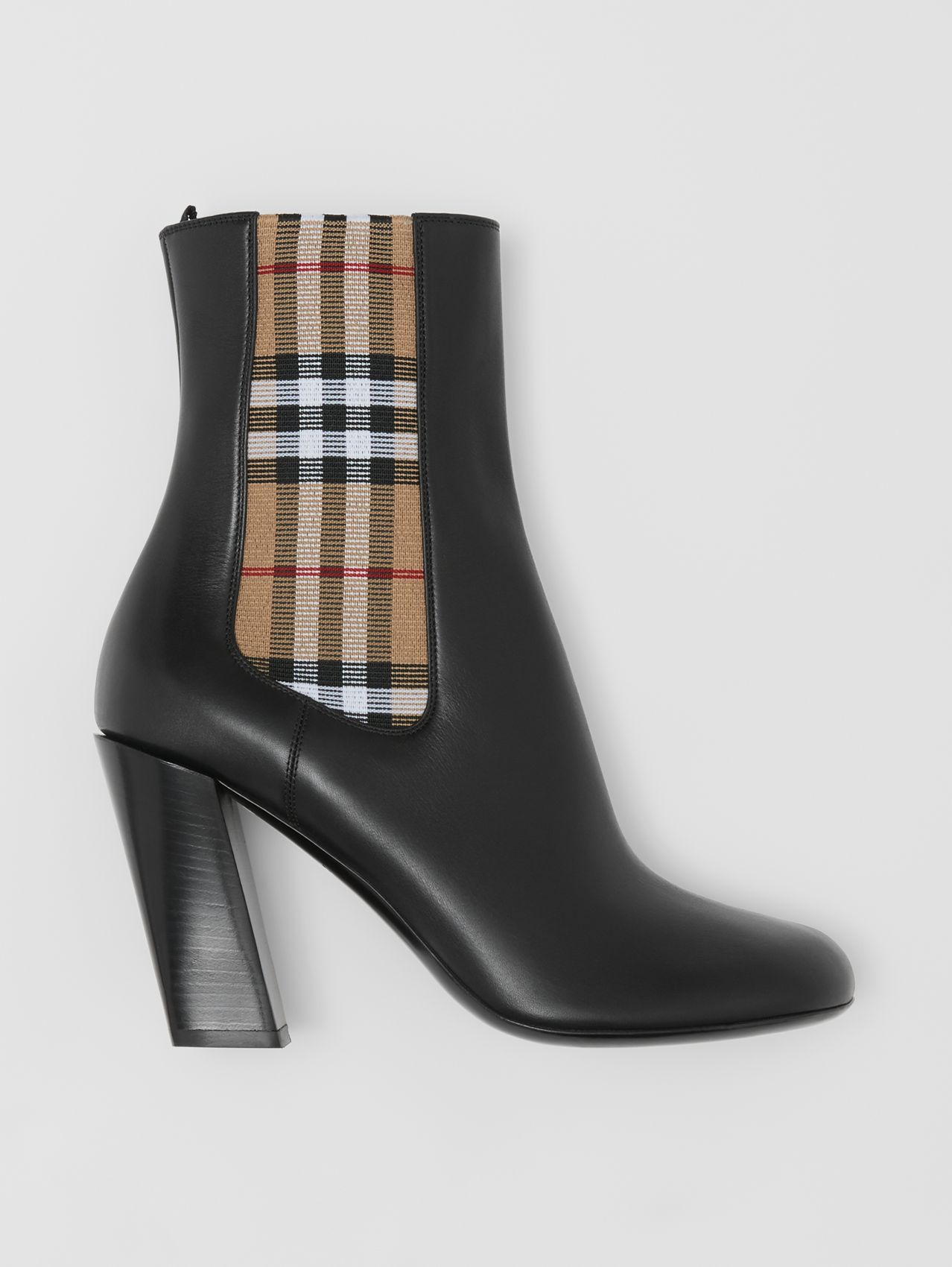Vintage Check Detail Leather Ankle Boots (Black)