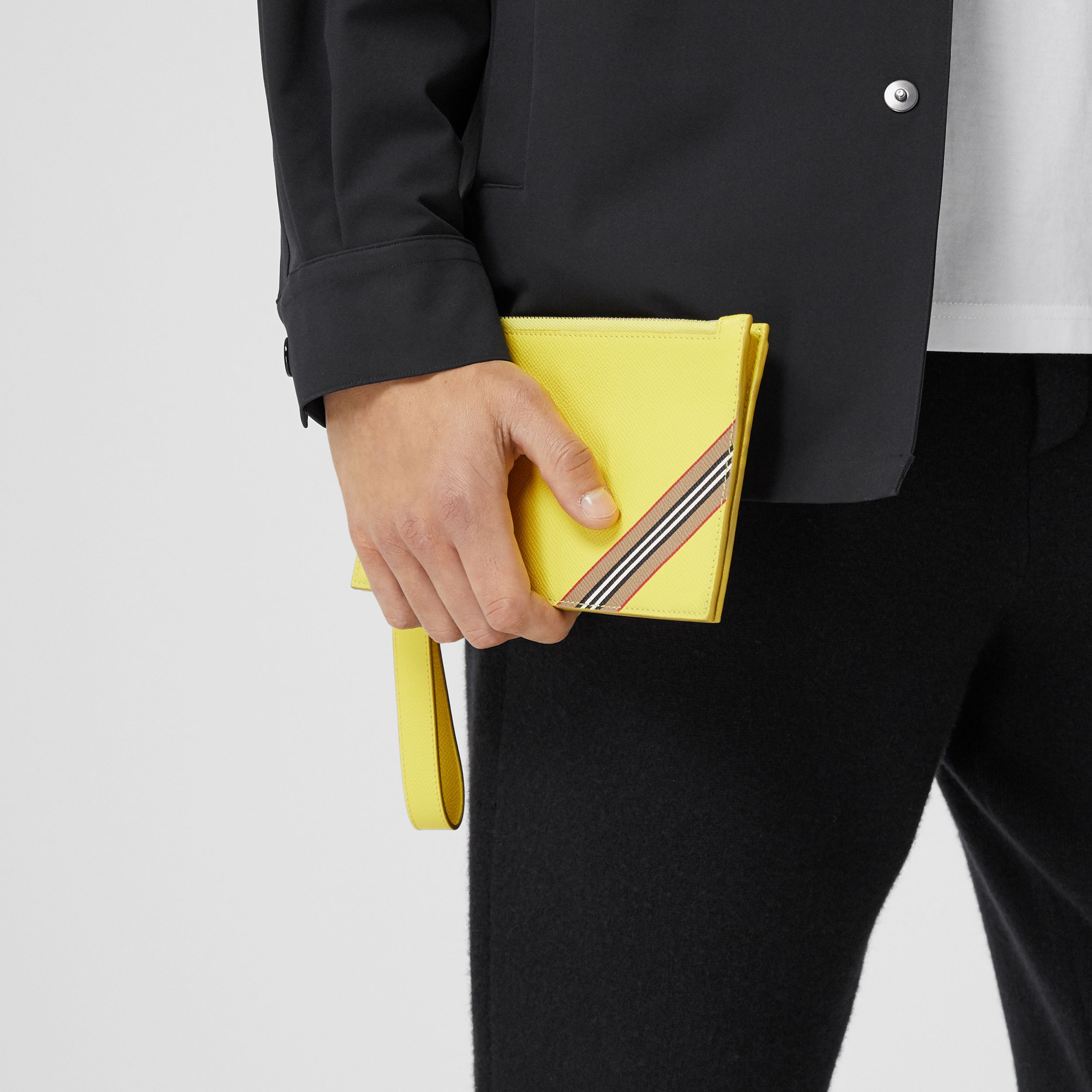Icon Stripe Print Grainy Leather Zip Pouch in Marigold Yellow | Burberry - 4