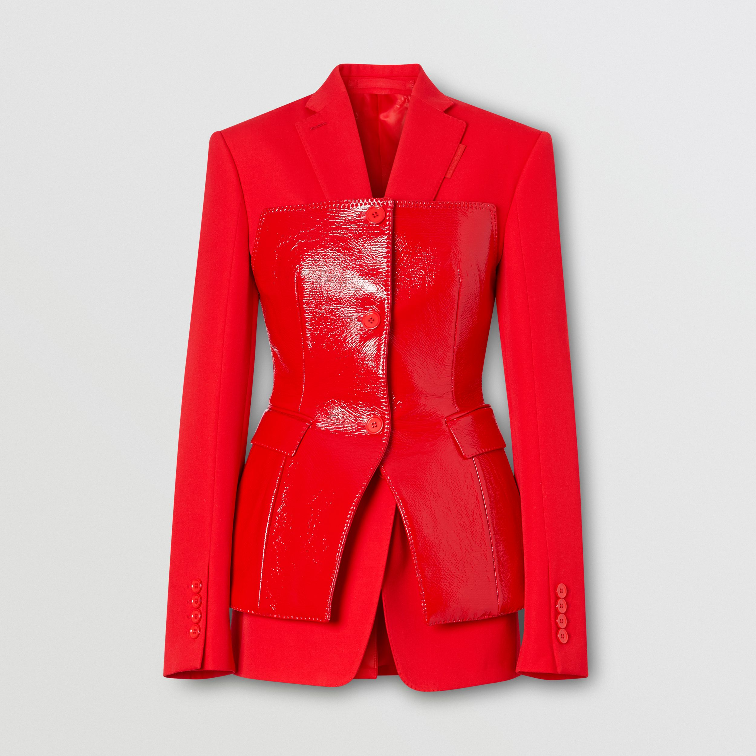 Vinyl Corset Detail Wool Tailored Jacket in Bright Red - Women | Burberry - 4