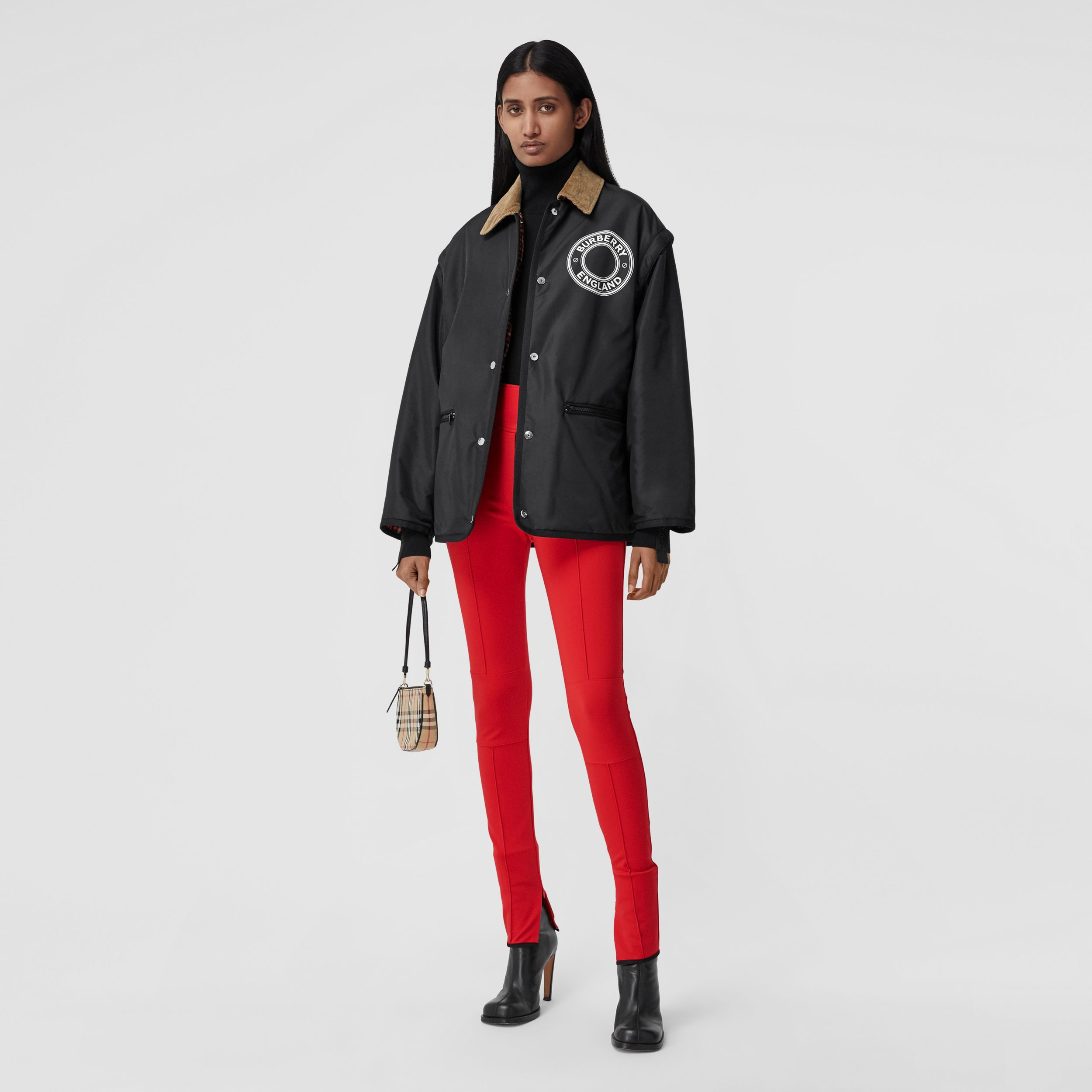 Stretch Crepe Jersey Jodhpurs in Bright Red - Women | Burberry - 1
